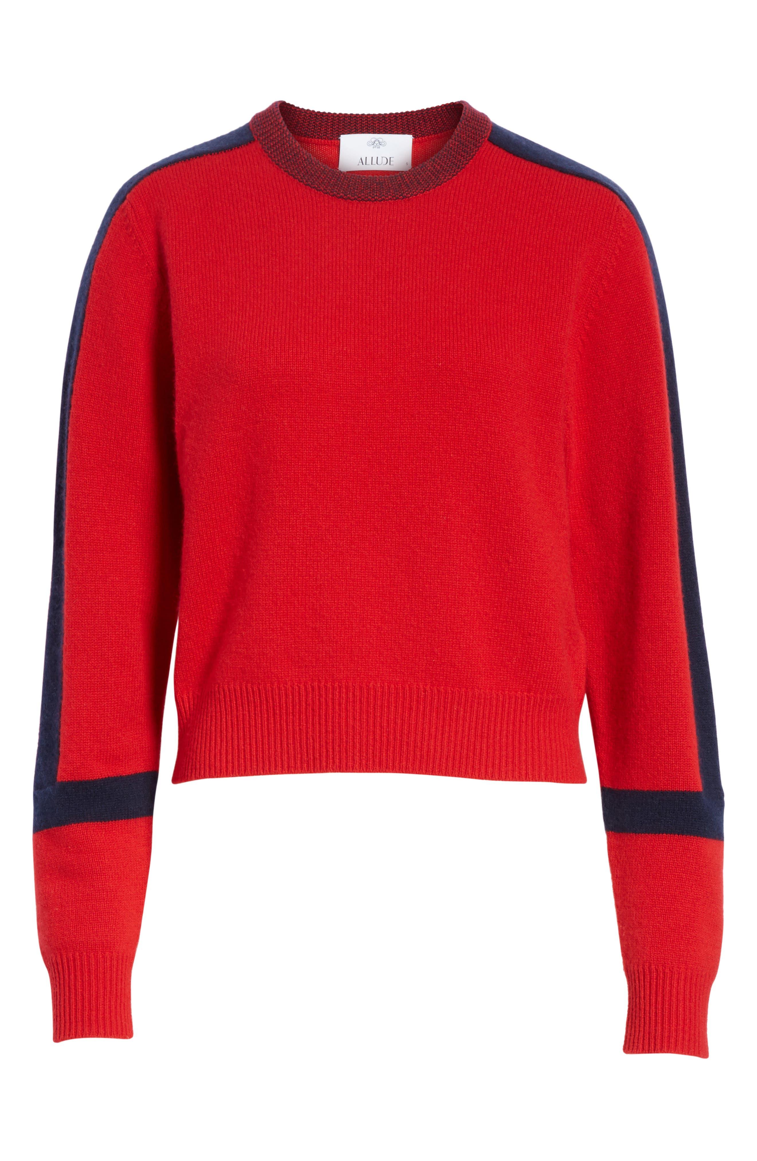 Alternate Image 6  - Allude Bold Stripe Cashmere Sweater