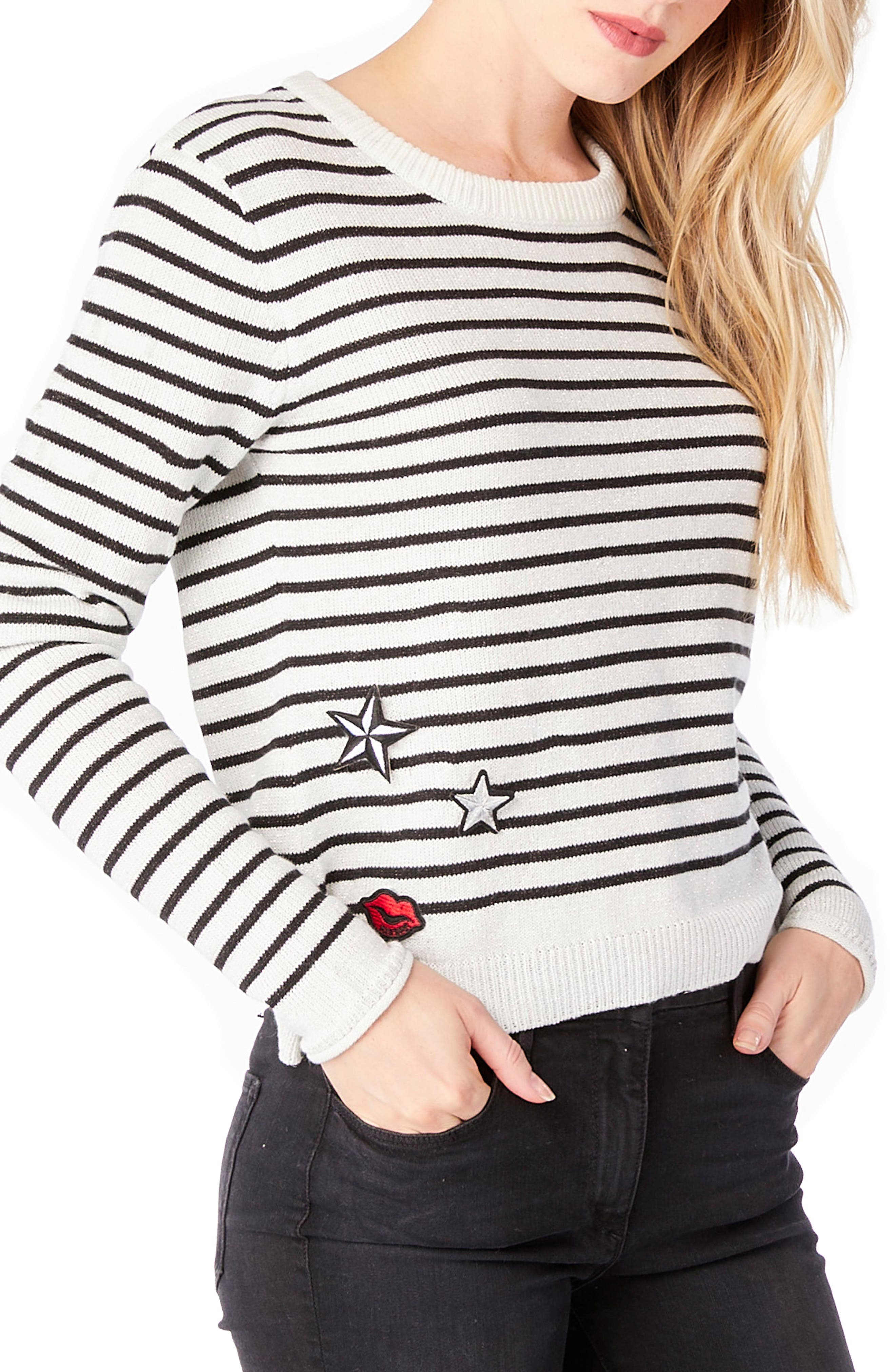 Stripe Patch Crewneck Sweater,                             Alternate thumbnail 3, color,                             White/ Black