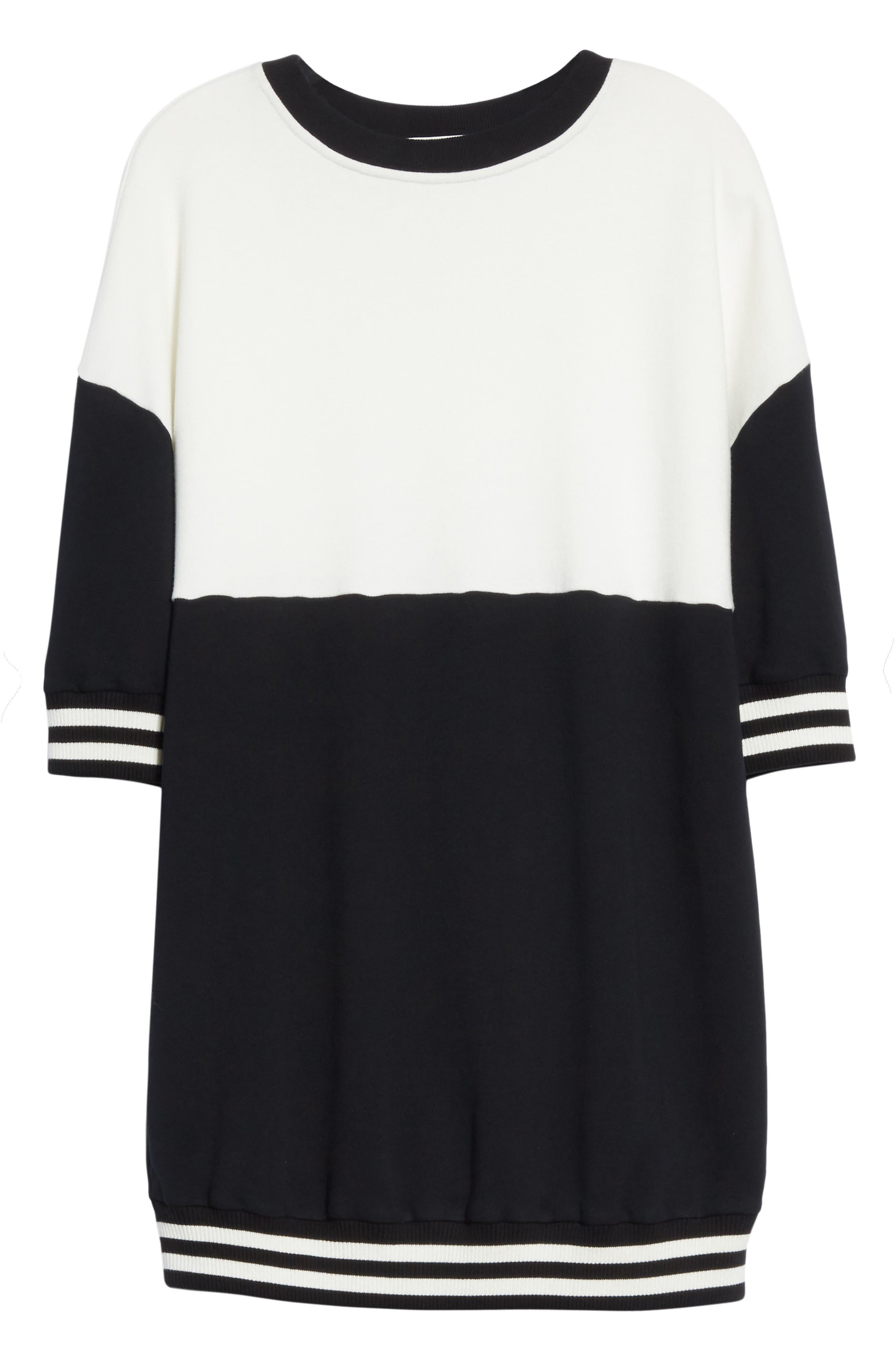 Gussie Colorblock Sweatshirt Dress,                             Alternate thumbnail 6, color,                             Black/ Off White
