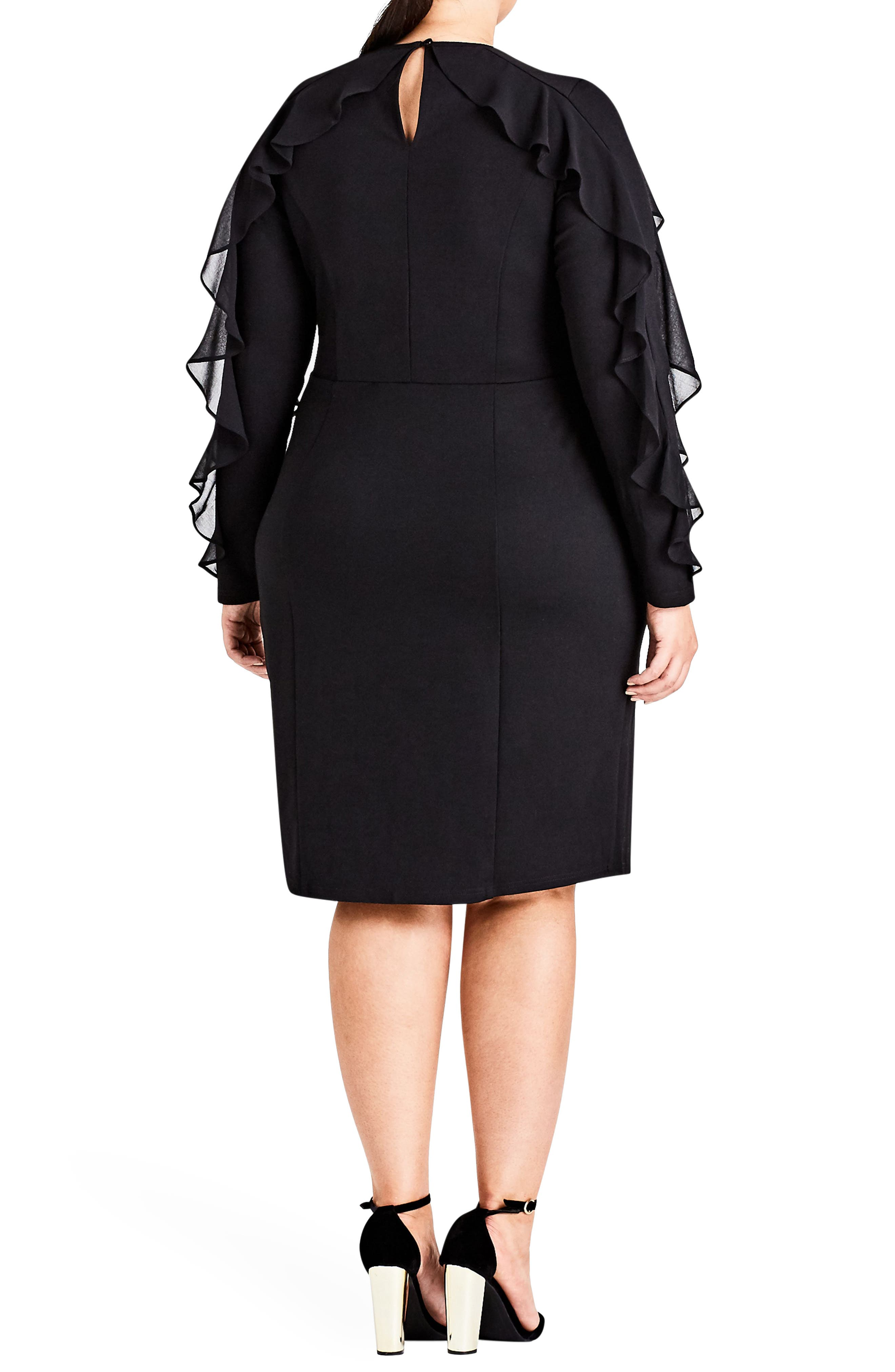 Chic City Romantic Sleeve Sheath Dress,                             Alternate thumbnail 2, color,                             Black