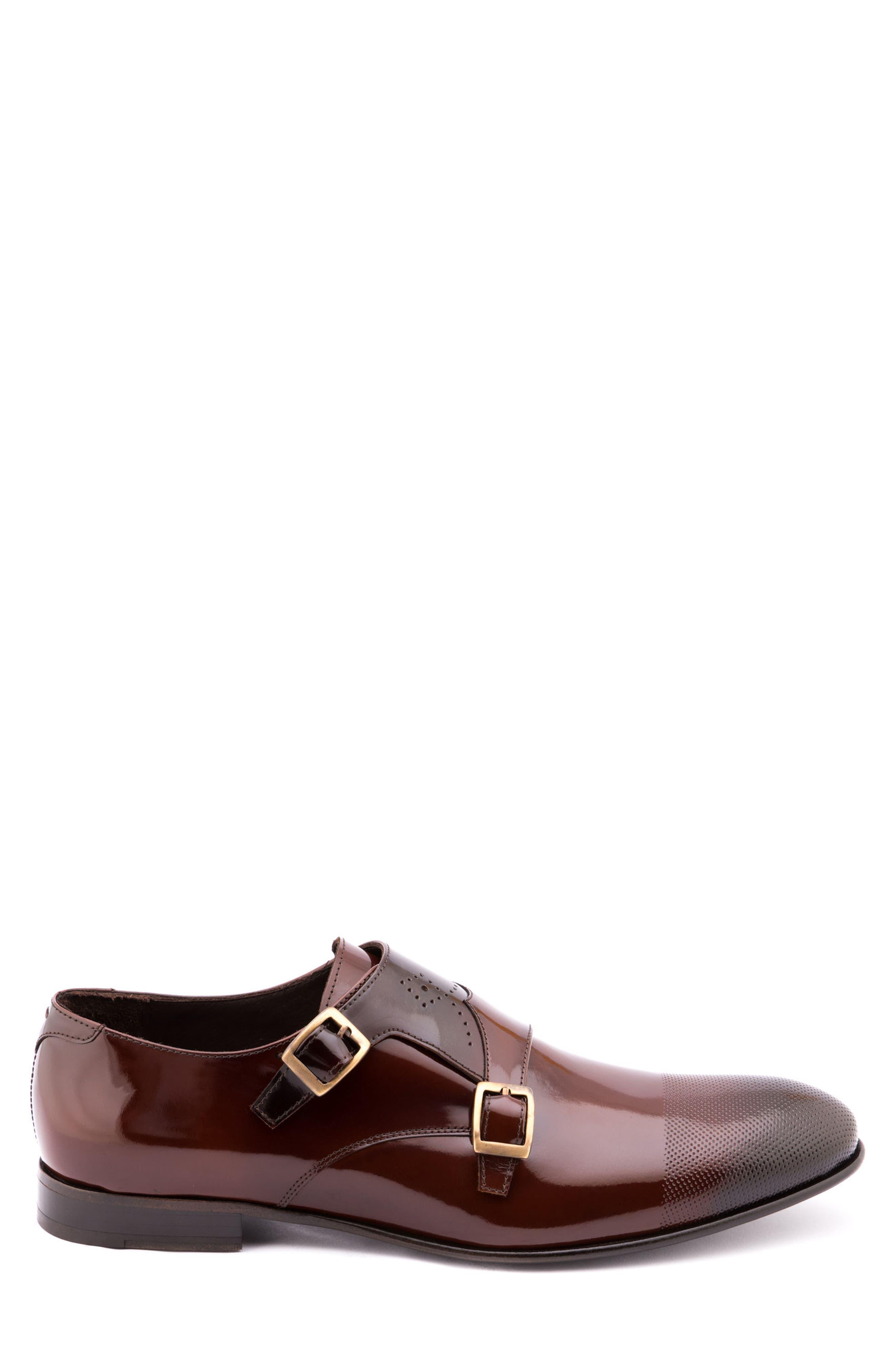 Martin Double Monk Strap Shoe,                             Alternate thumbnail 3, color,                             Brown