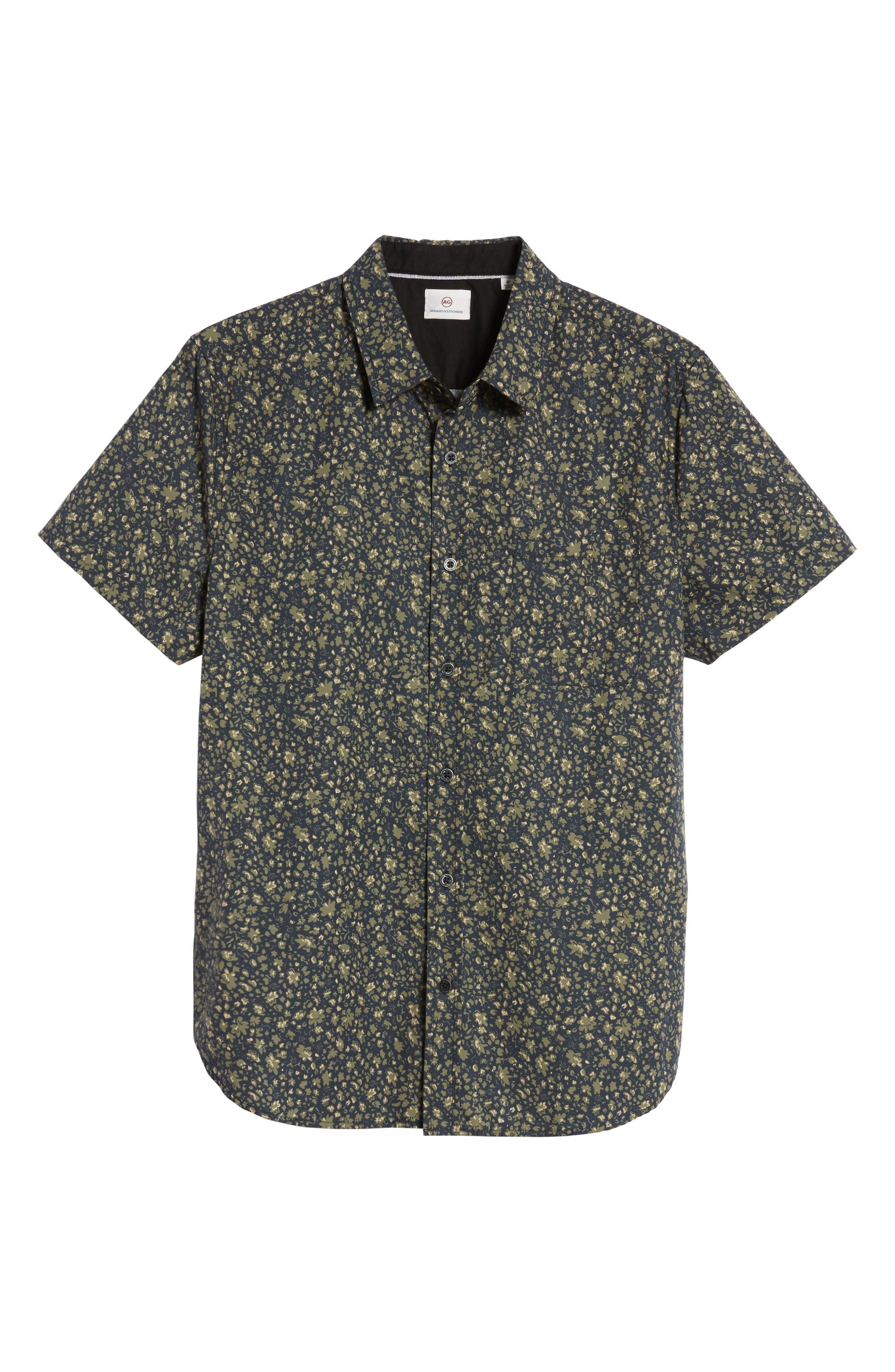 Nash Slim Fit Print Sport Shirt,                             Alternate thumbnail 6, color,                             Floral Camo Black/ Ivy