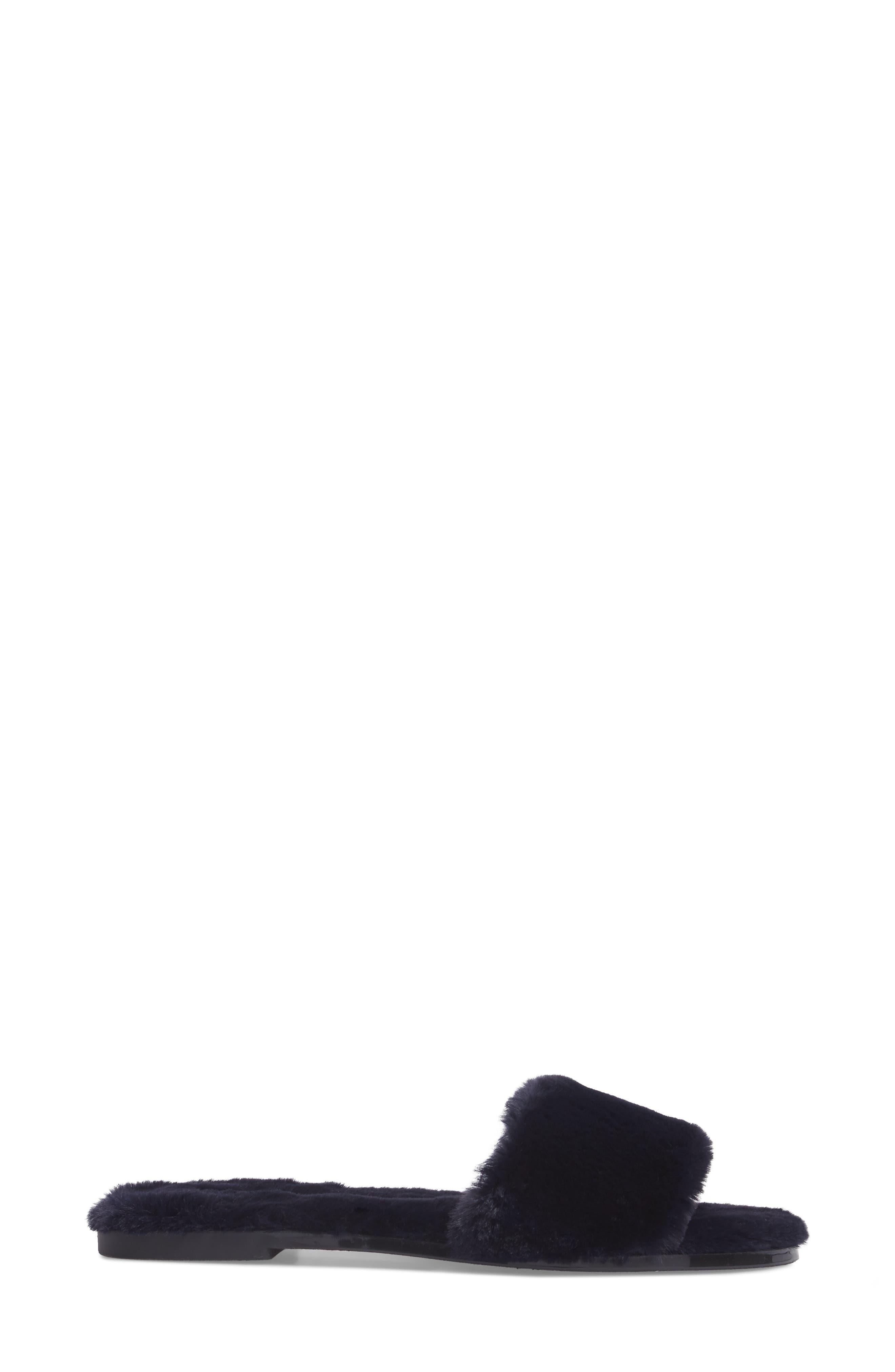 Mulholland Faux Fur Slide Sandal,                             Alternate thumbnail 3, color,                             Navy