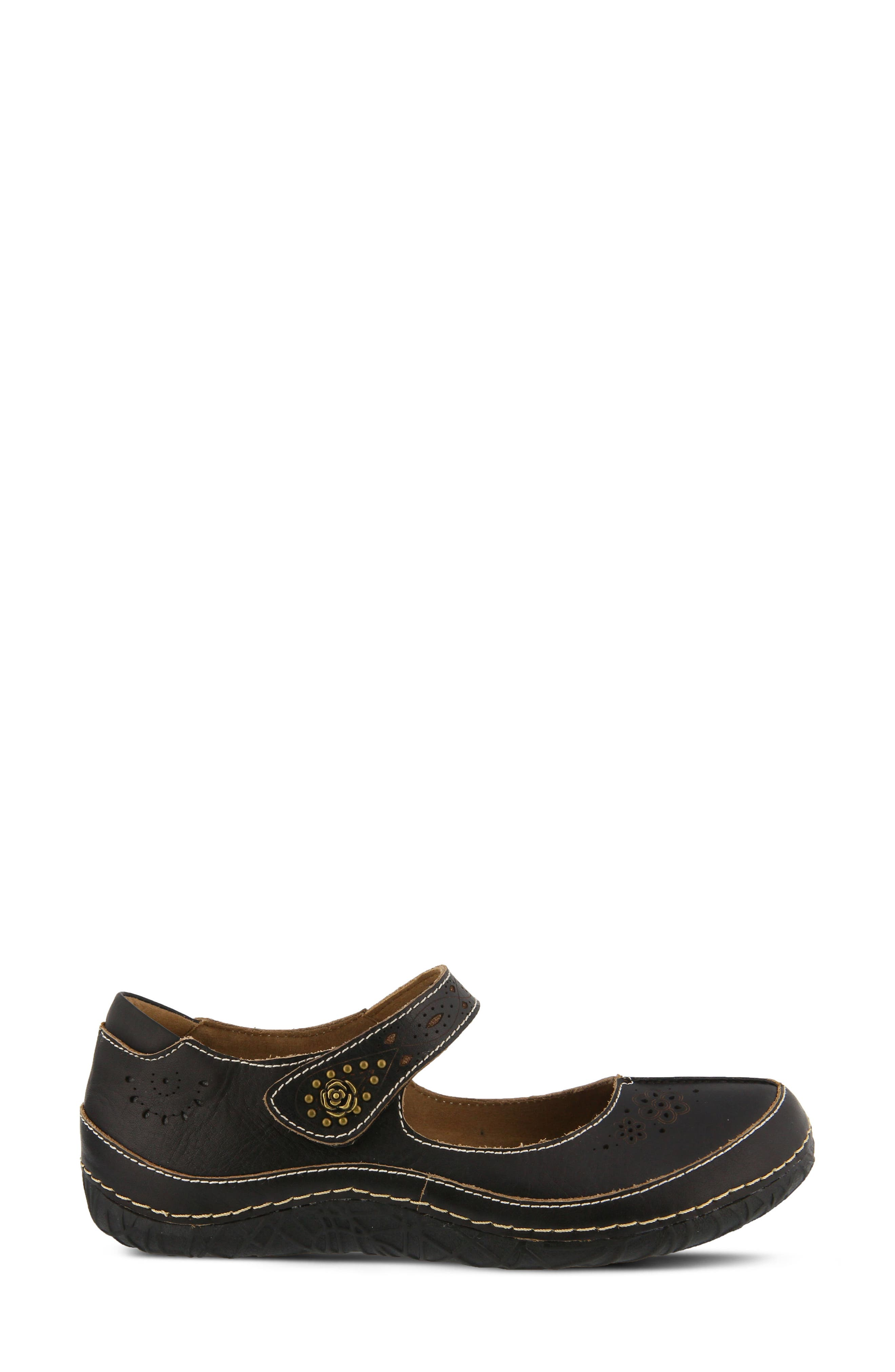 L'Artiste Lazarina Mary Jane Flat,                             Alternate thumbnail 3, color,                             Black Leather