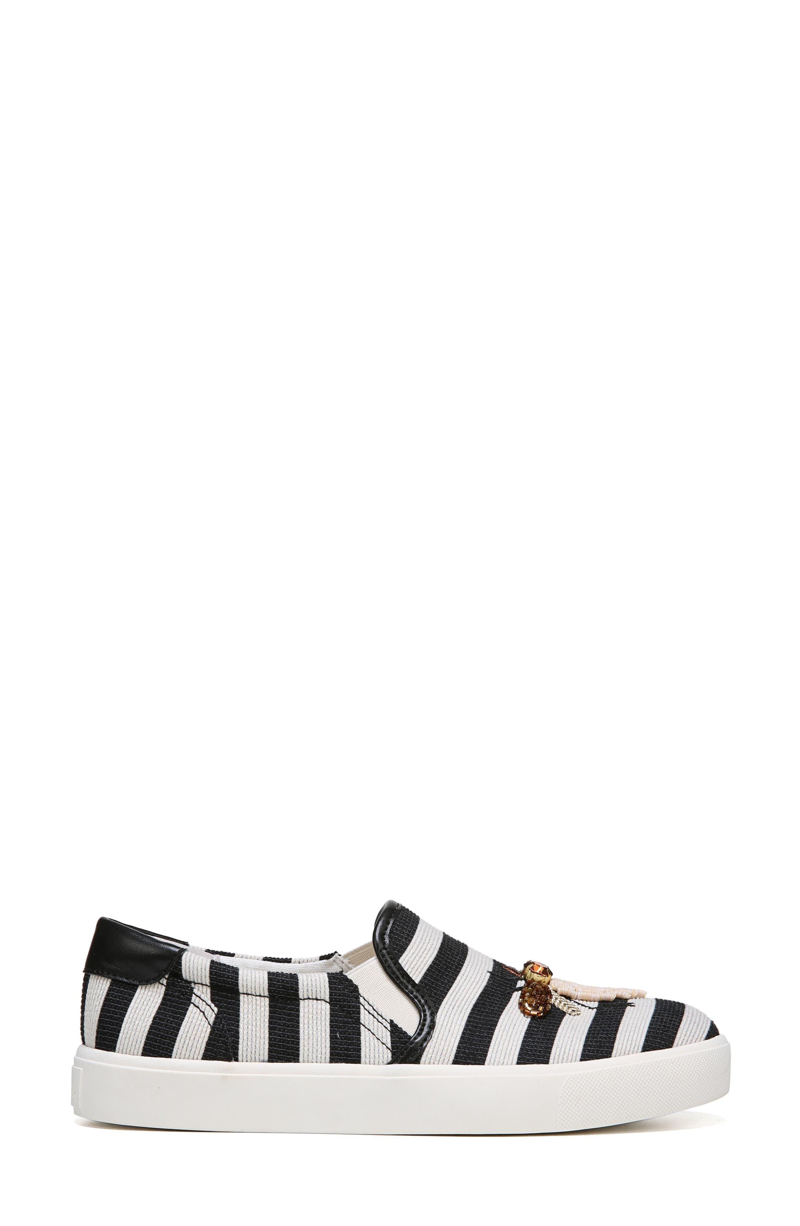 Evelina Slip-On,                             Alternate thumbnail 3, color,                             Black Stripe Nappa Leather