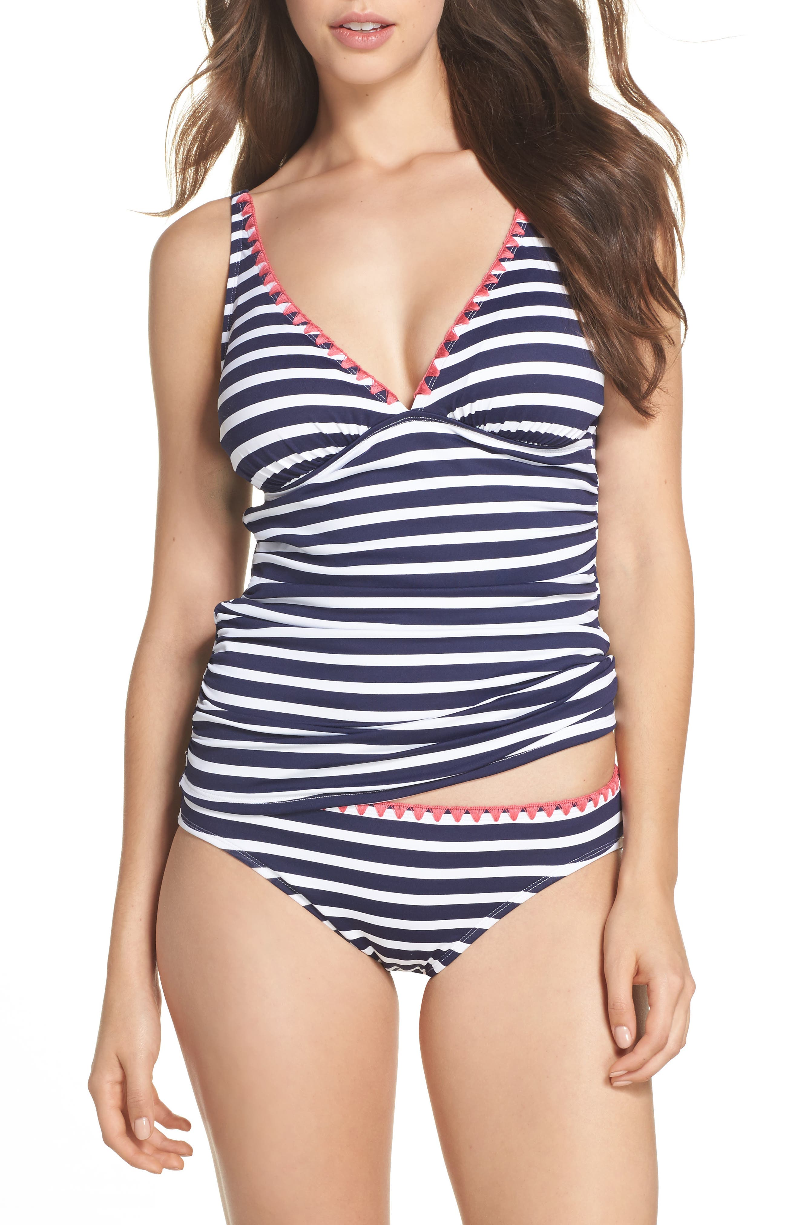 Breton Stripe Tankini Top,                             Alternate thumbnail 7, color,                             Mare Navy/ White