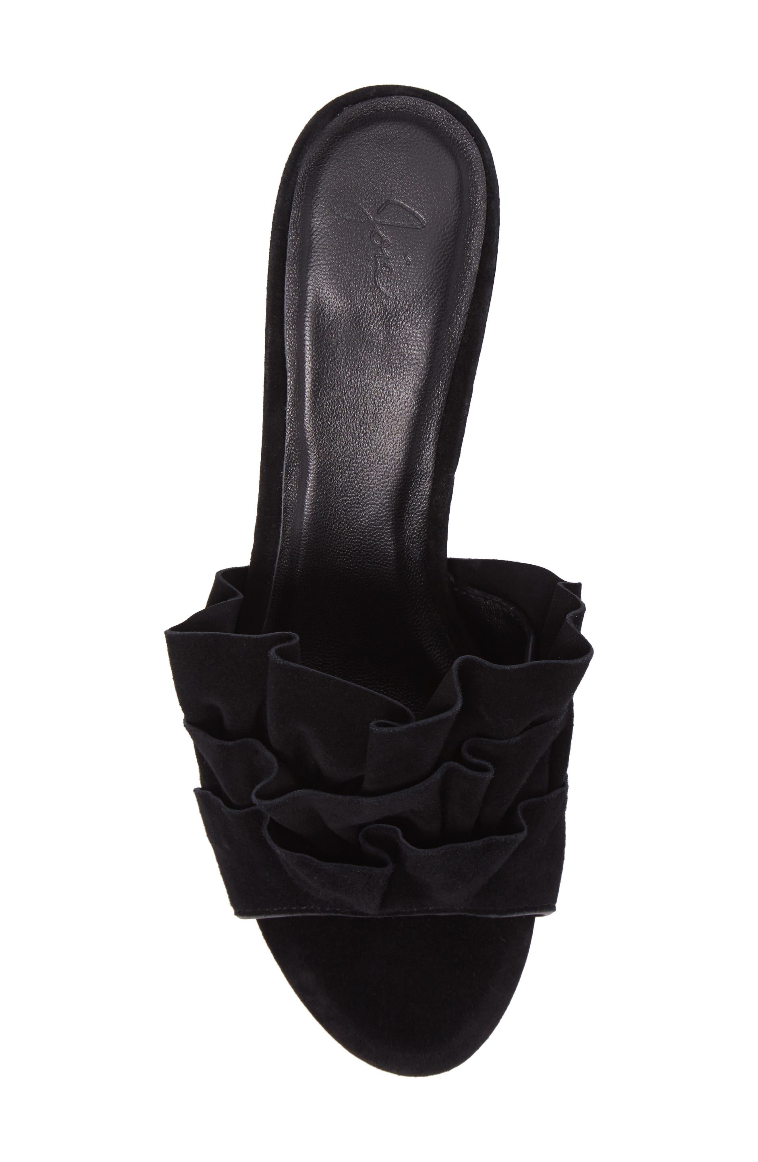 Mai Ruffle Slide Sandal,                             Alternate thumbnail 5, color,                             Black