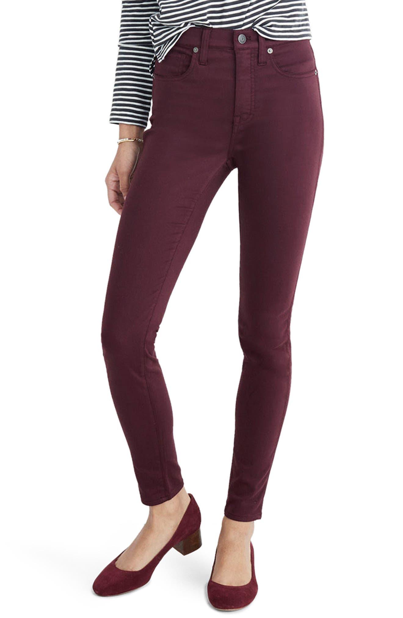 10-Inch High Waist Skinny Sateen Jeans,                         Main,                         color, Deep Plum