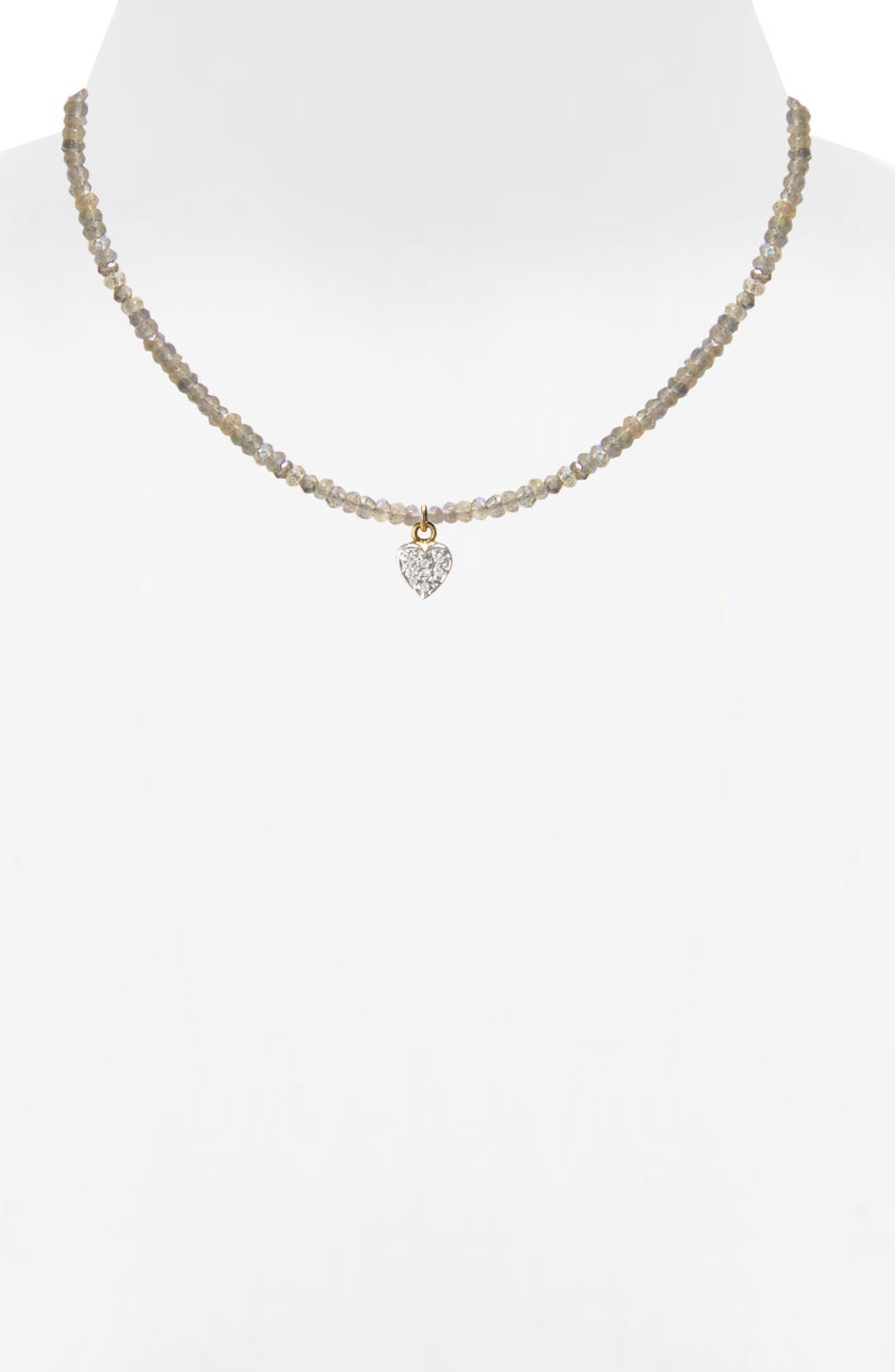 Jane Basch Diamond Heart Pendant Necklace,                             Alternate thumbnail 2, color,                             Labradorite
