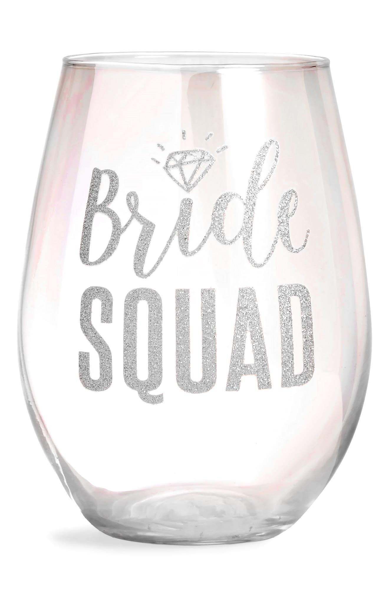 Bride Squad Stemless Wine Glass,                             Main thumbnail 1, color,                             Silver