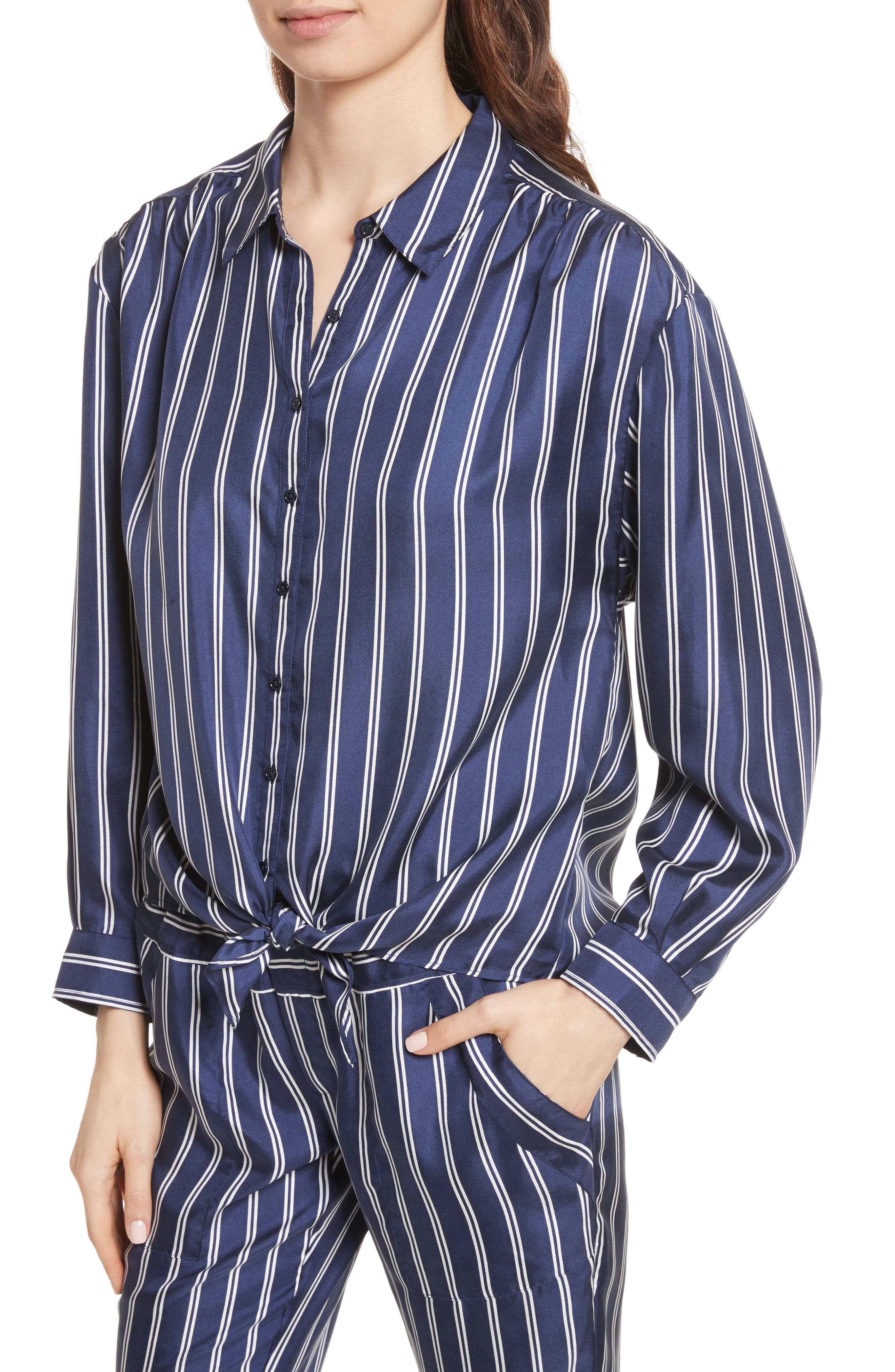 Adiba Stripe Silk Shirt,                             Alternate thumbnail 4, color,                             Dark Navy