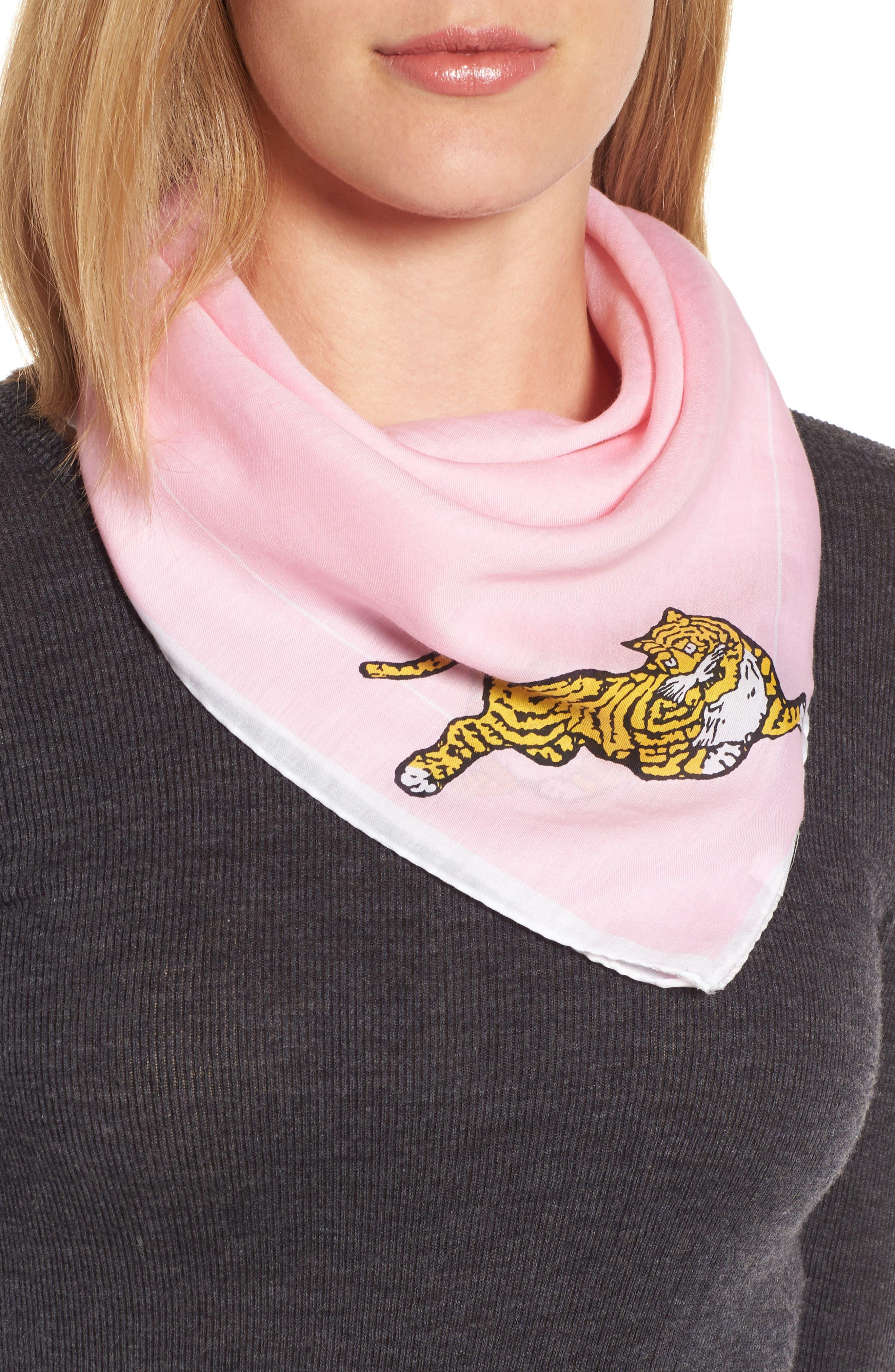 Walking Tiger Bandana Cotton & Silk Scarf,                             Alternate thumbnail 2, color,                             Faded Pink