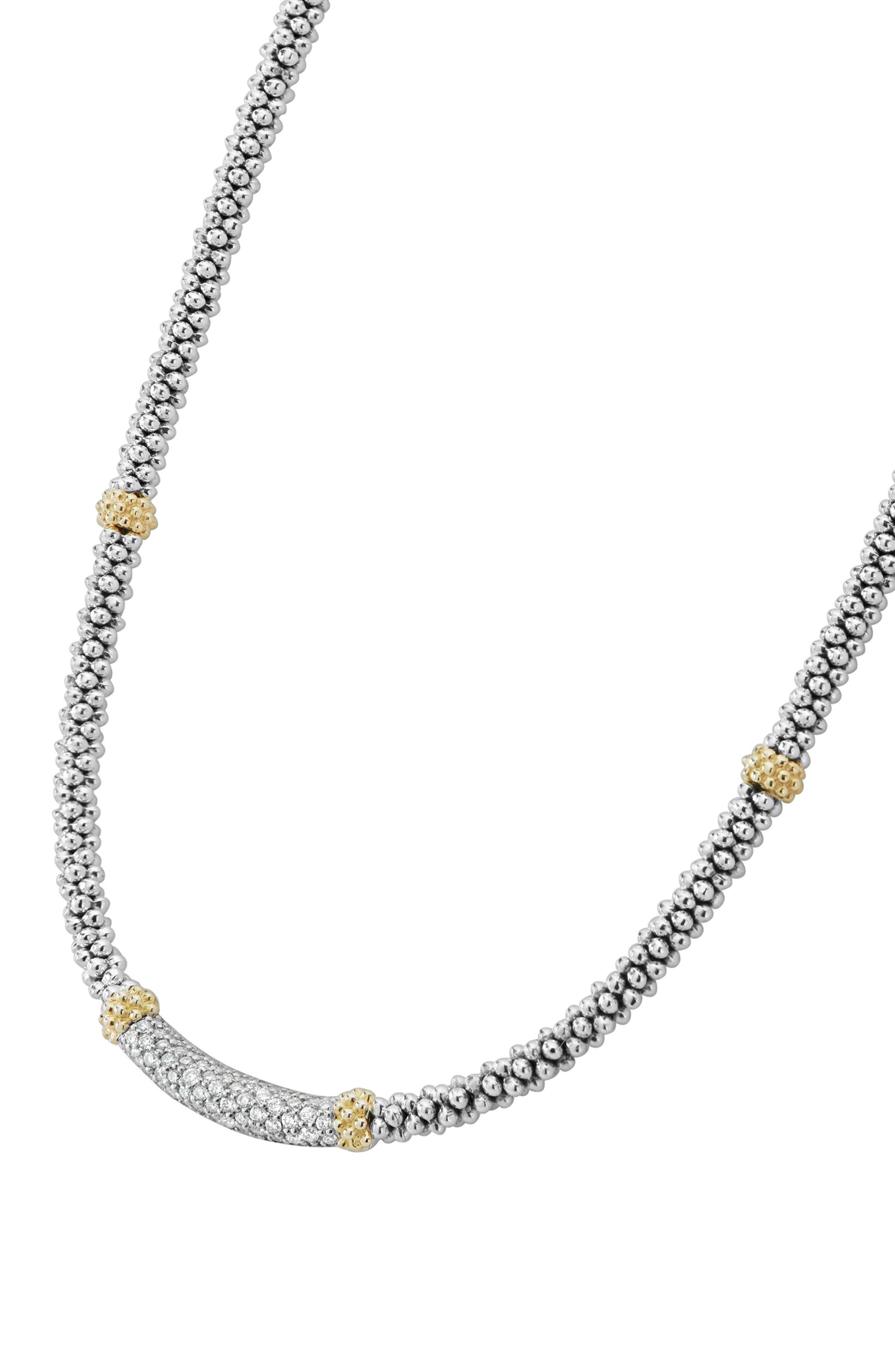 Lux Diamond Rope Necklace,                             Alternate thumbnail 5, color,                             Silver/ Diamond