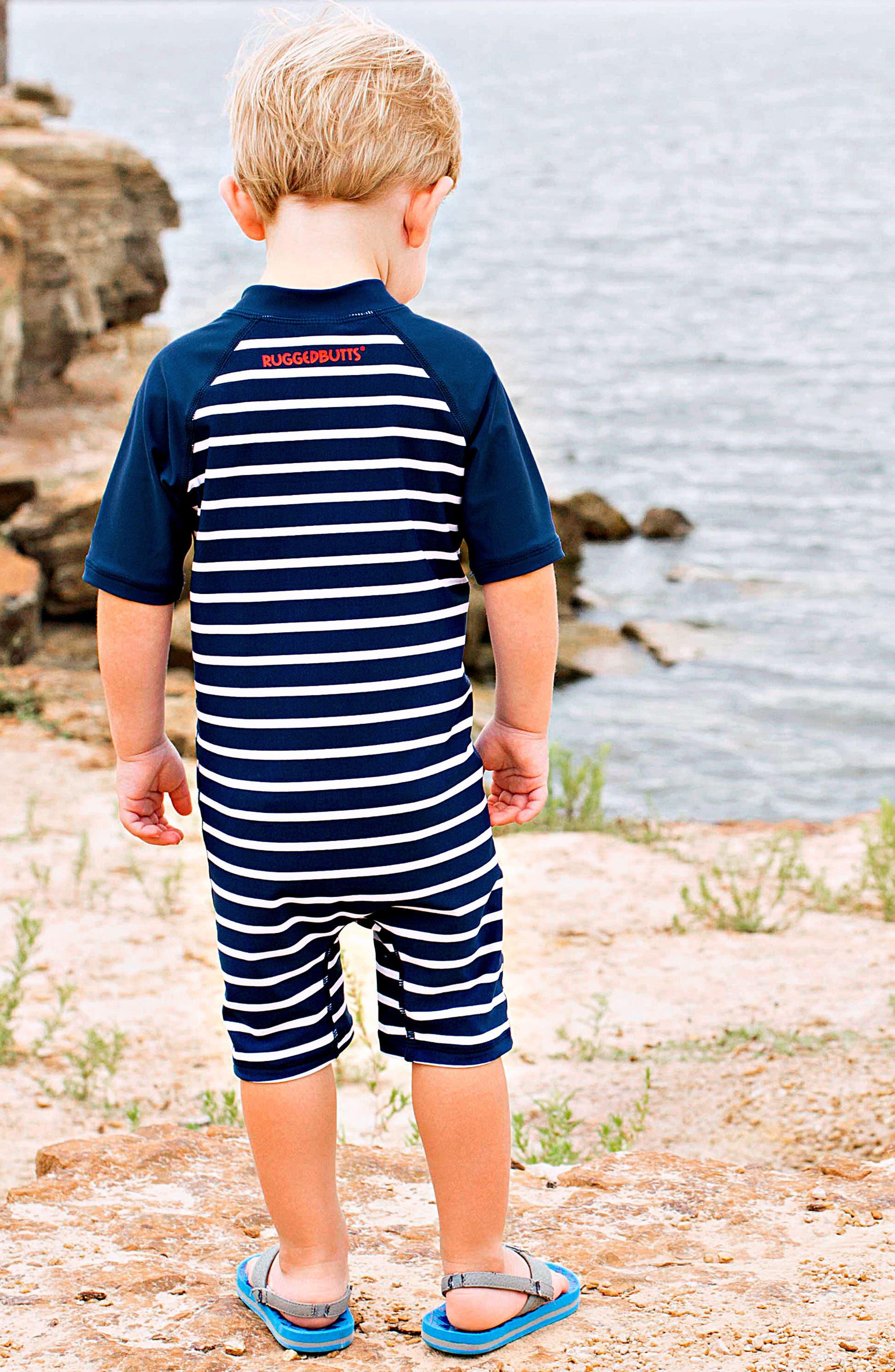 Rashguard Swimsuit & Hat Set,                             Alternate thumbnail 4, color,                             Blue
