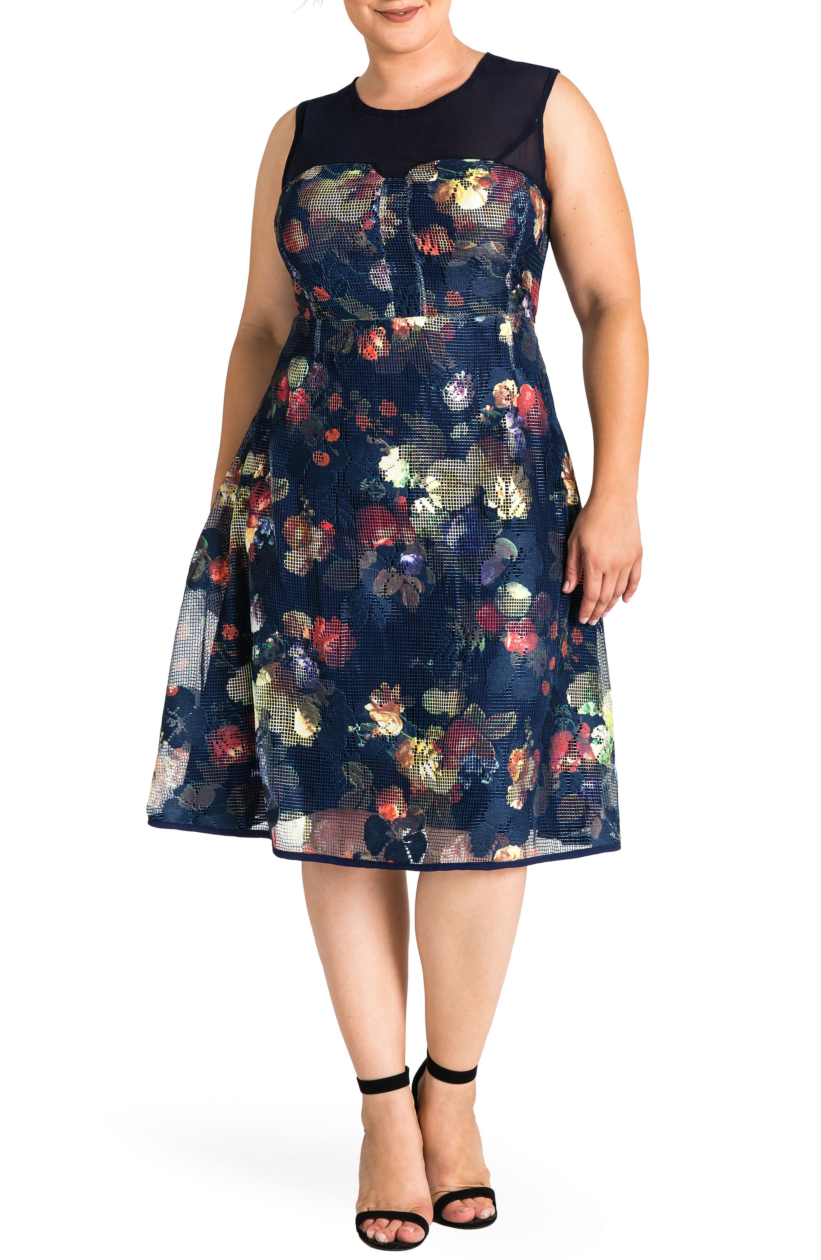 Angel Floral Mesh Dress,                             Main thumbnail 1, color,                             Navy Floral