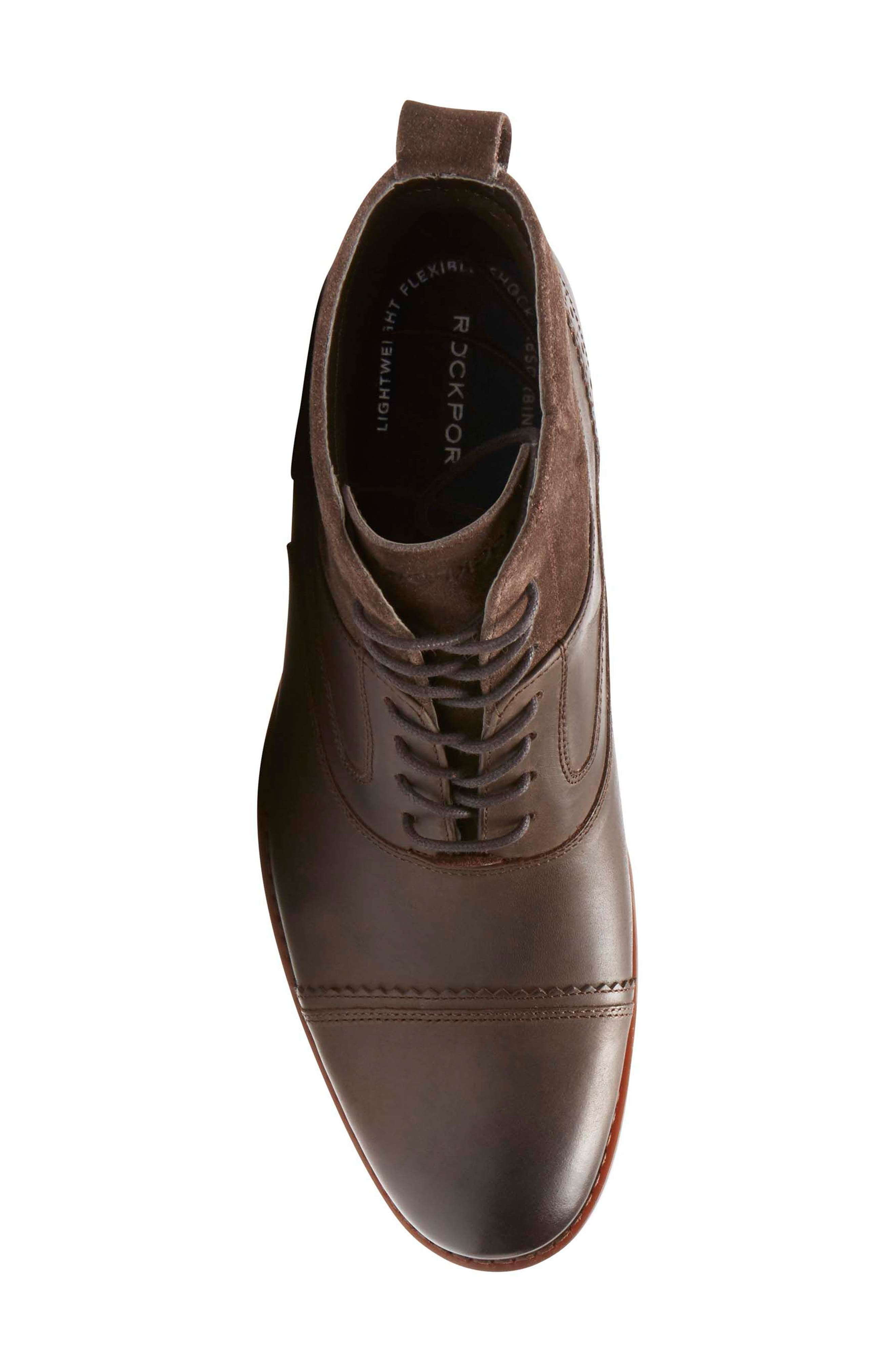 Wynstin Cap Toe Boot,                             Alternate thumbnail 5, color,                             Dark Chocolate Leather