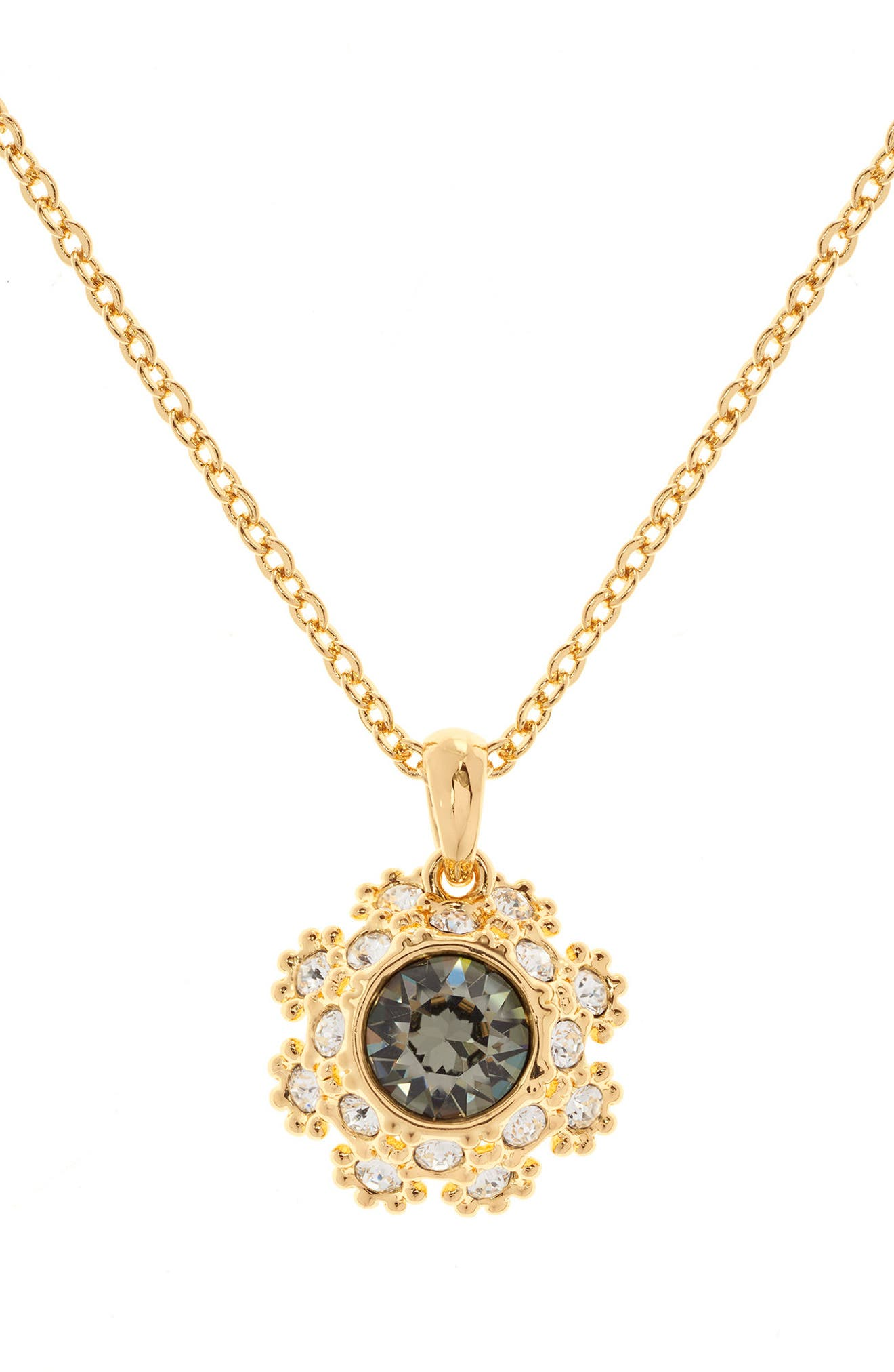 Crystal Daisy Lace Pendant Necklace,                             Alternate thumbnail 2, color,                             Jet