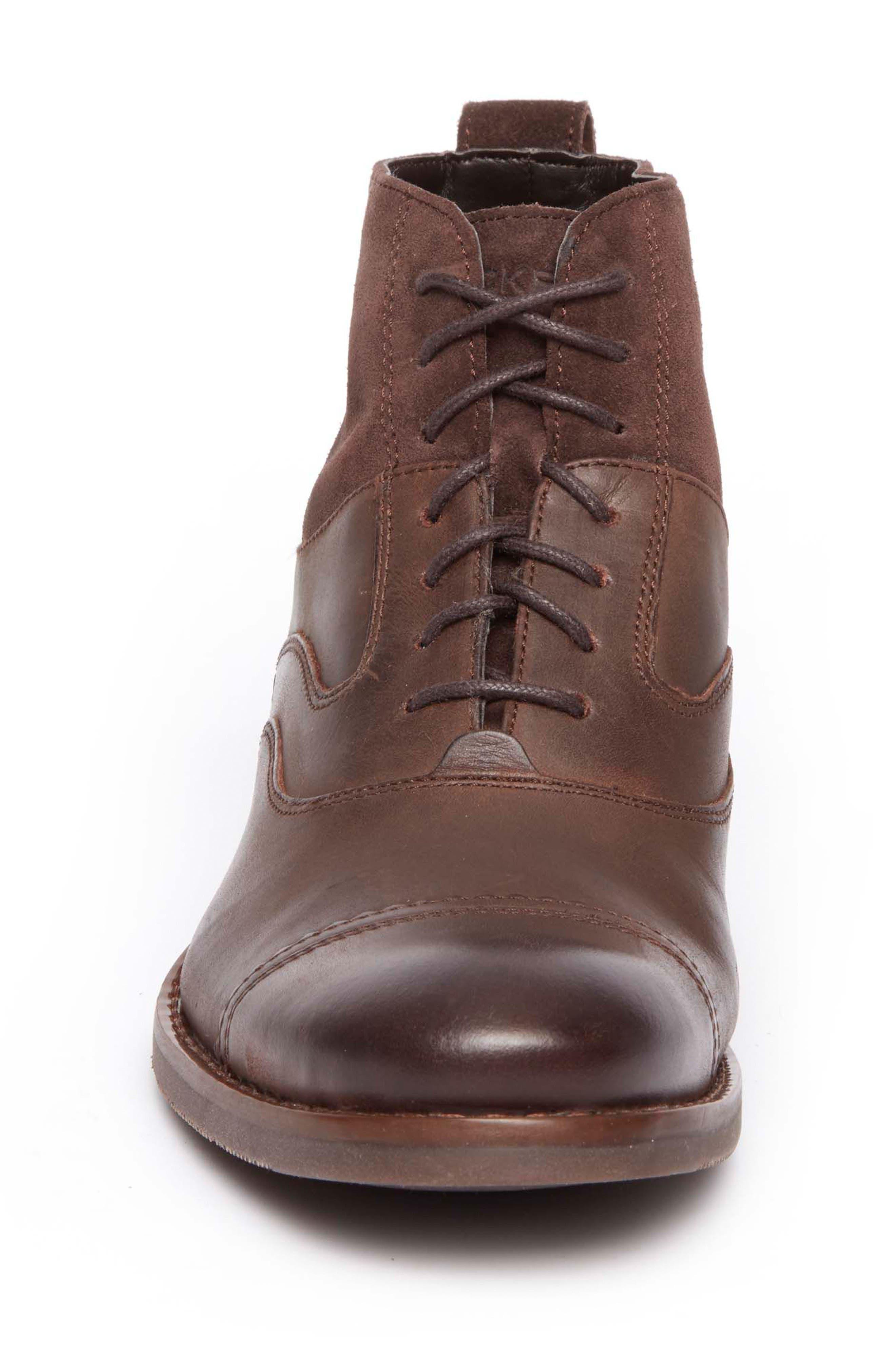 Wynstin Cap Toe Boot,                             Alternate thumbnail 4, color,                             Dark Chocolate Leather