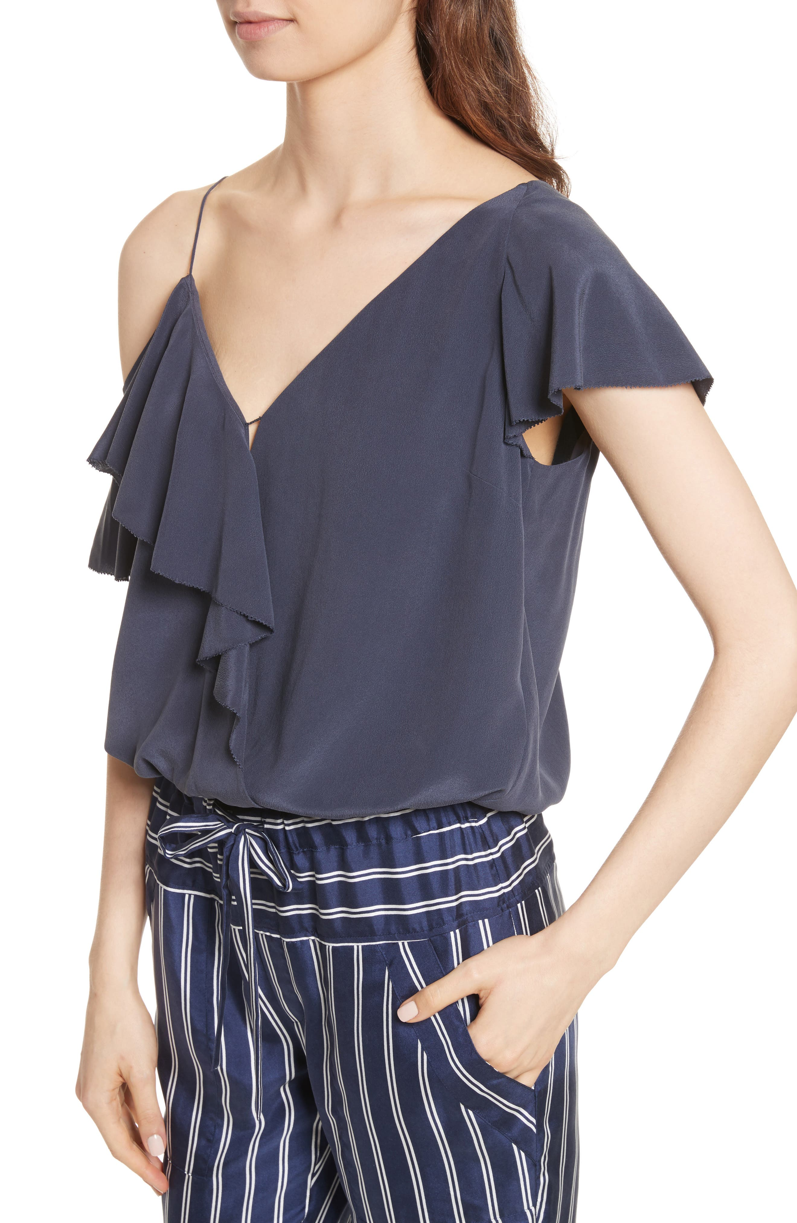 Alcyoneus Off the Shoulder Silk Top,                             Alternate thumbnail 4, color,                             Dark Navy