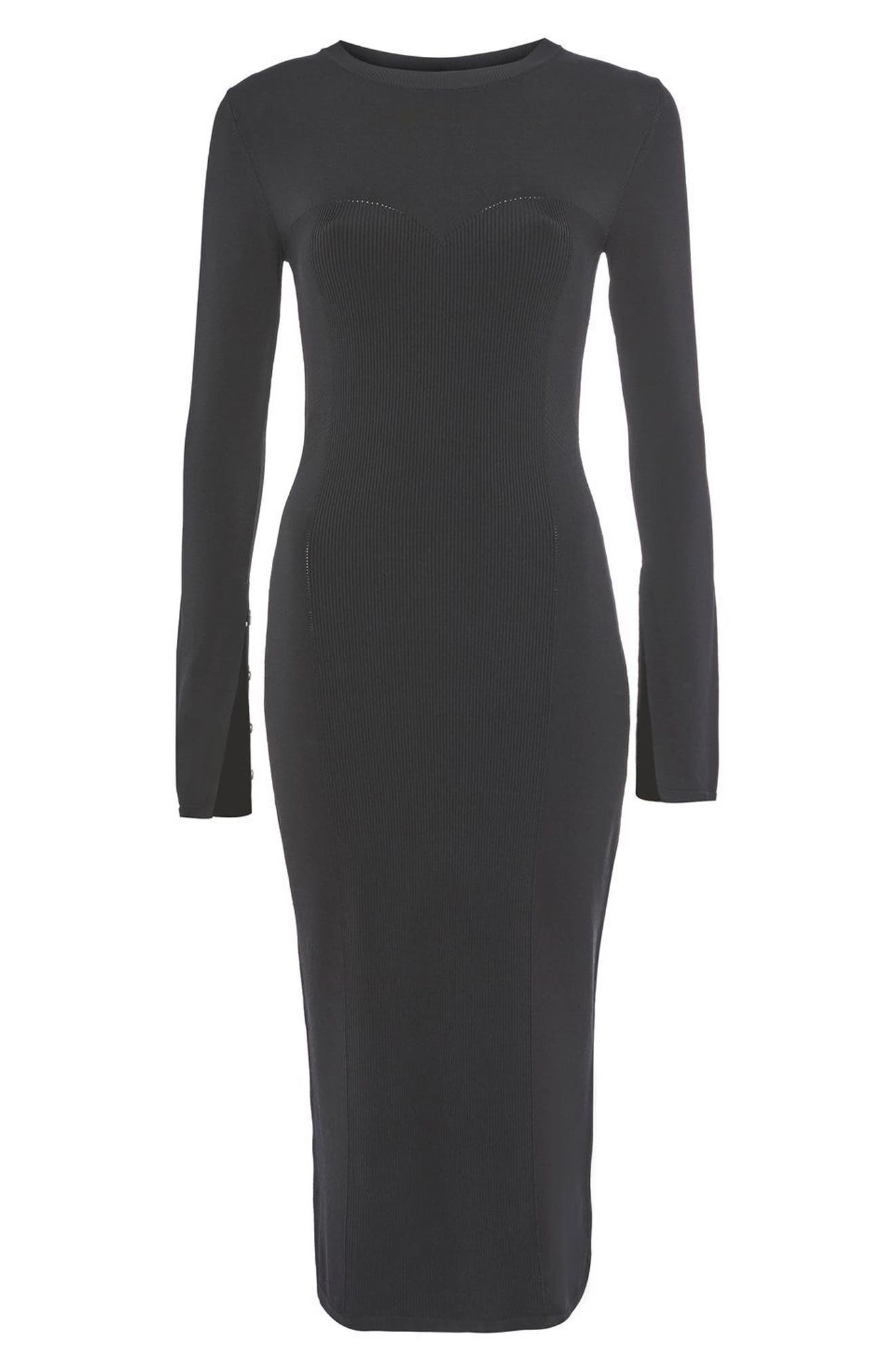 Topshop Pointelle Midi Dress,                             Main thumbnail 1, color,                             Black