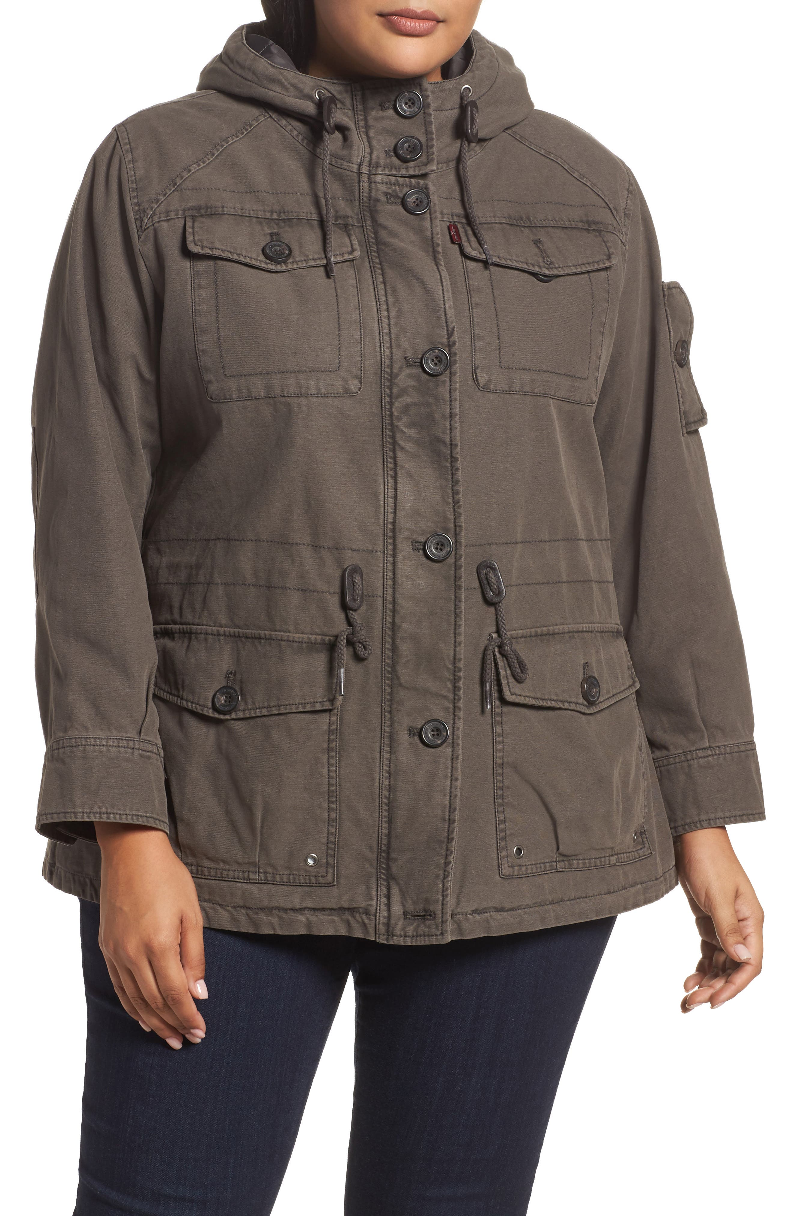 Levi's® Hooded Cotton Utility Jacket (Plus Size)