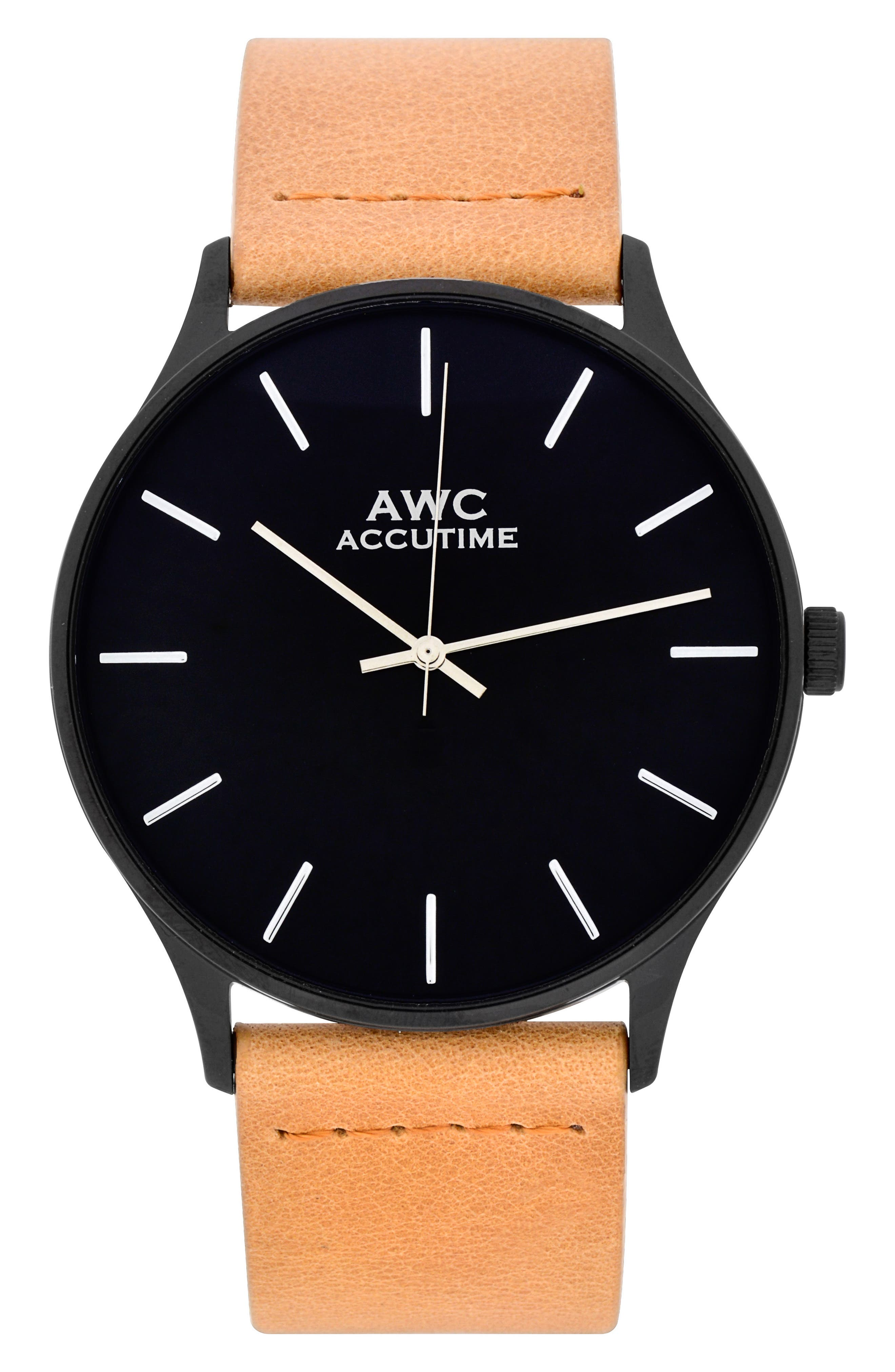 Mark Suede Strap Watch, 42mm,                             Main thumbnail 1, color,                             Black/ Tan Suede