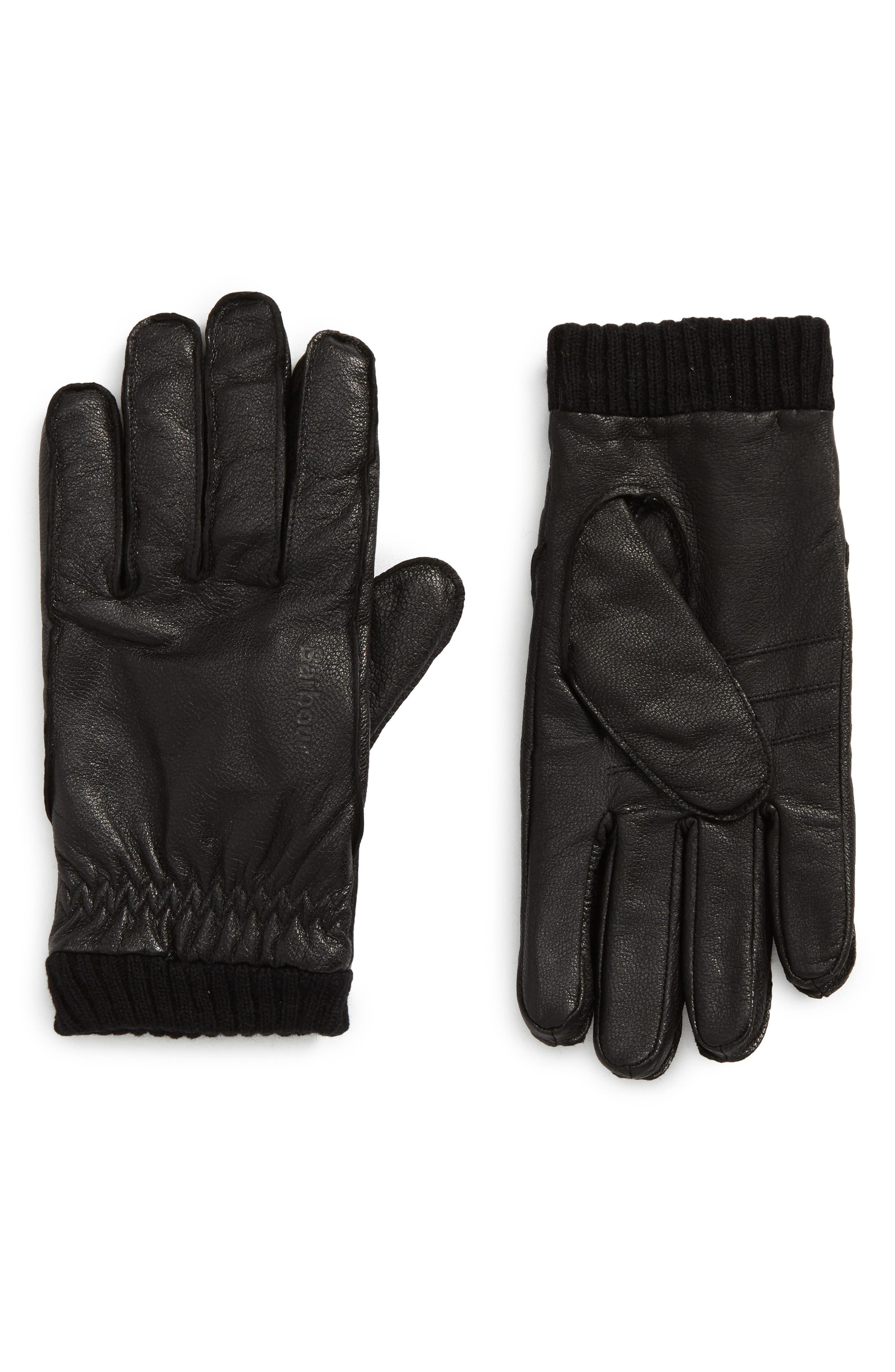 Barrow Leather Gloves,                             Main thumbnail 1, color,                             Black