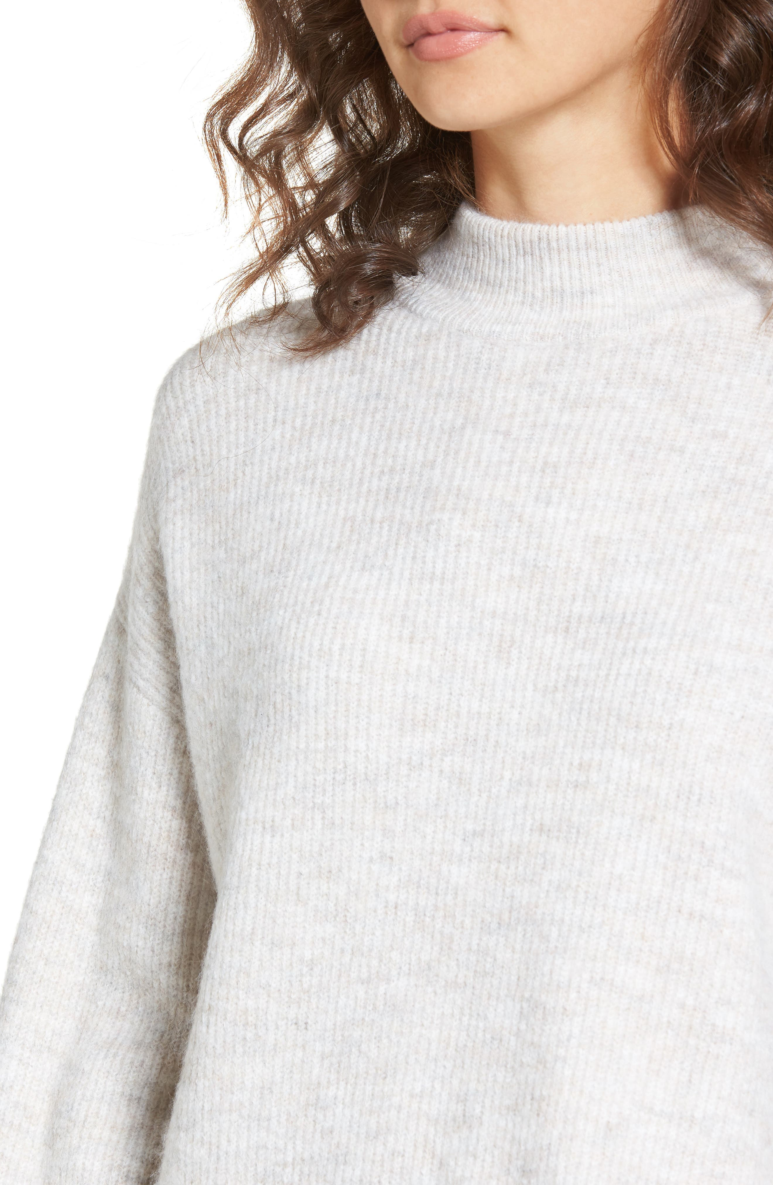 Cozy Ribbed Pullover,                             Alternate thumbnail 4, color,                             Beige Oatmeal Hthr
