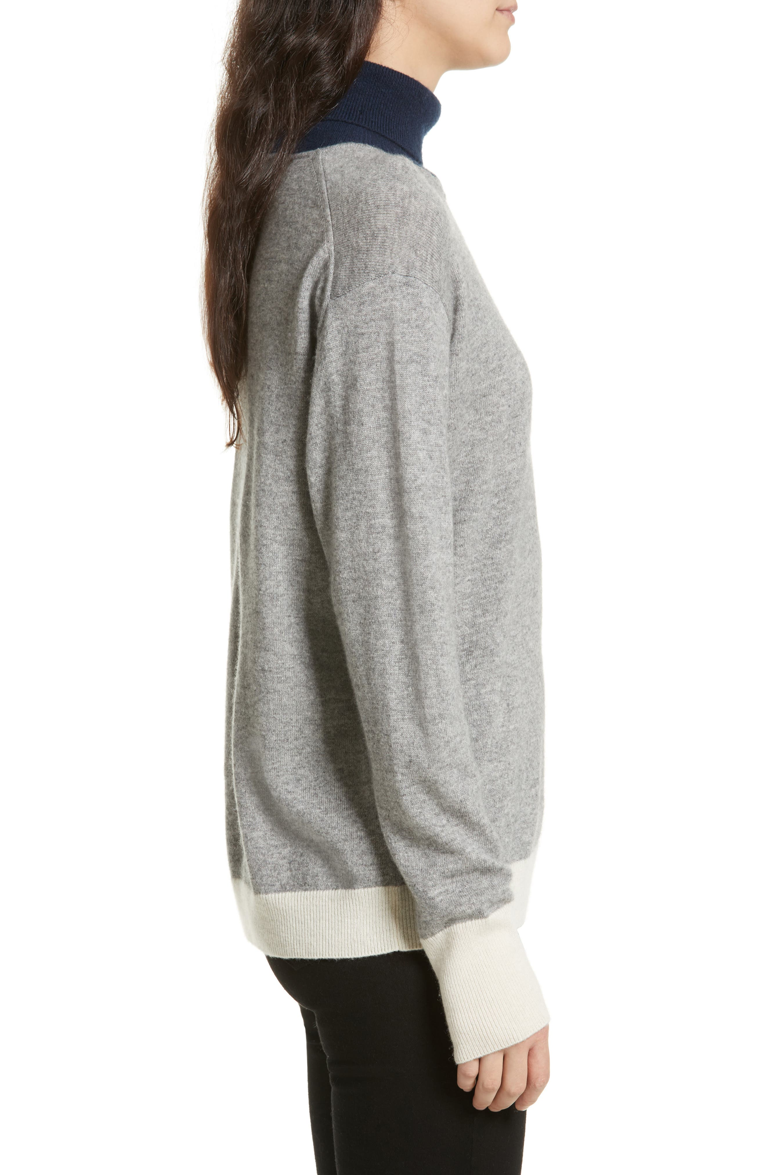 Rhea Wool & Cashmere Turtleneck Sweater,                             Alternate thumbnail 3, color,                             Grey Heather