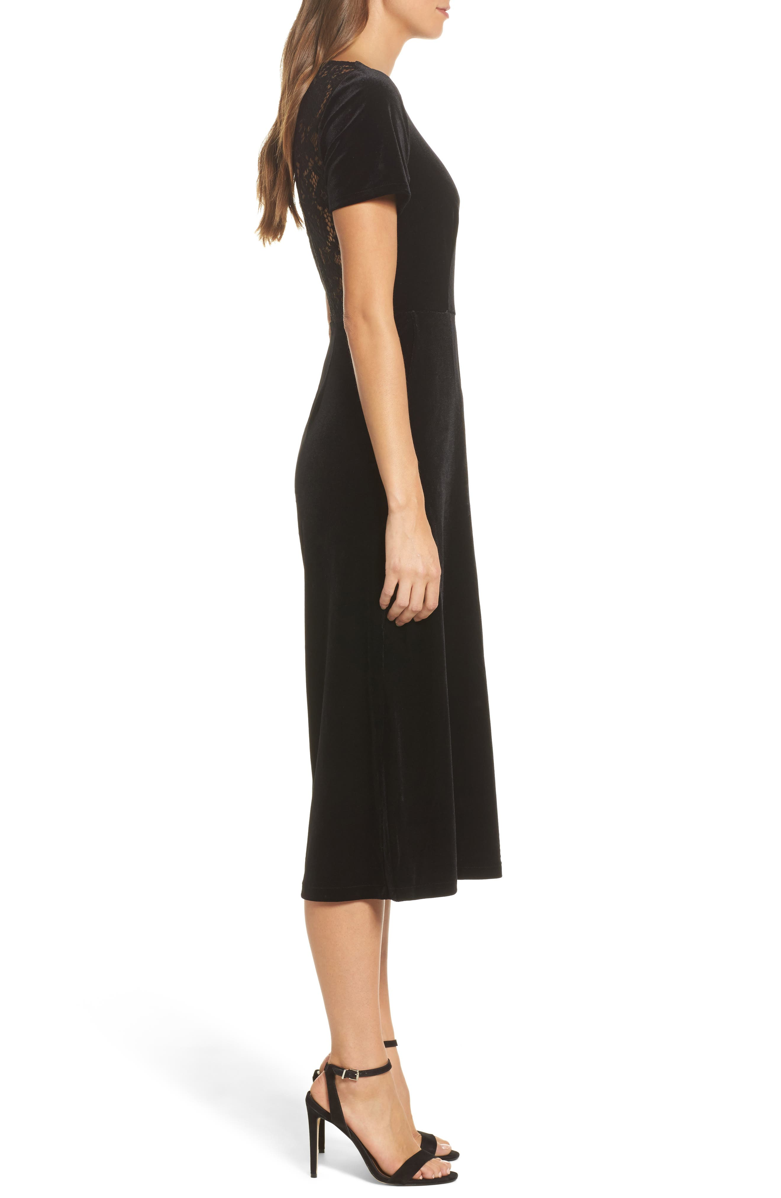 Aurore Velvet Culotte Jumpsuit,                             Alternate thumbnail 3, color,                             Black