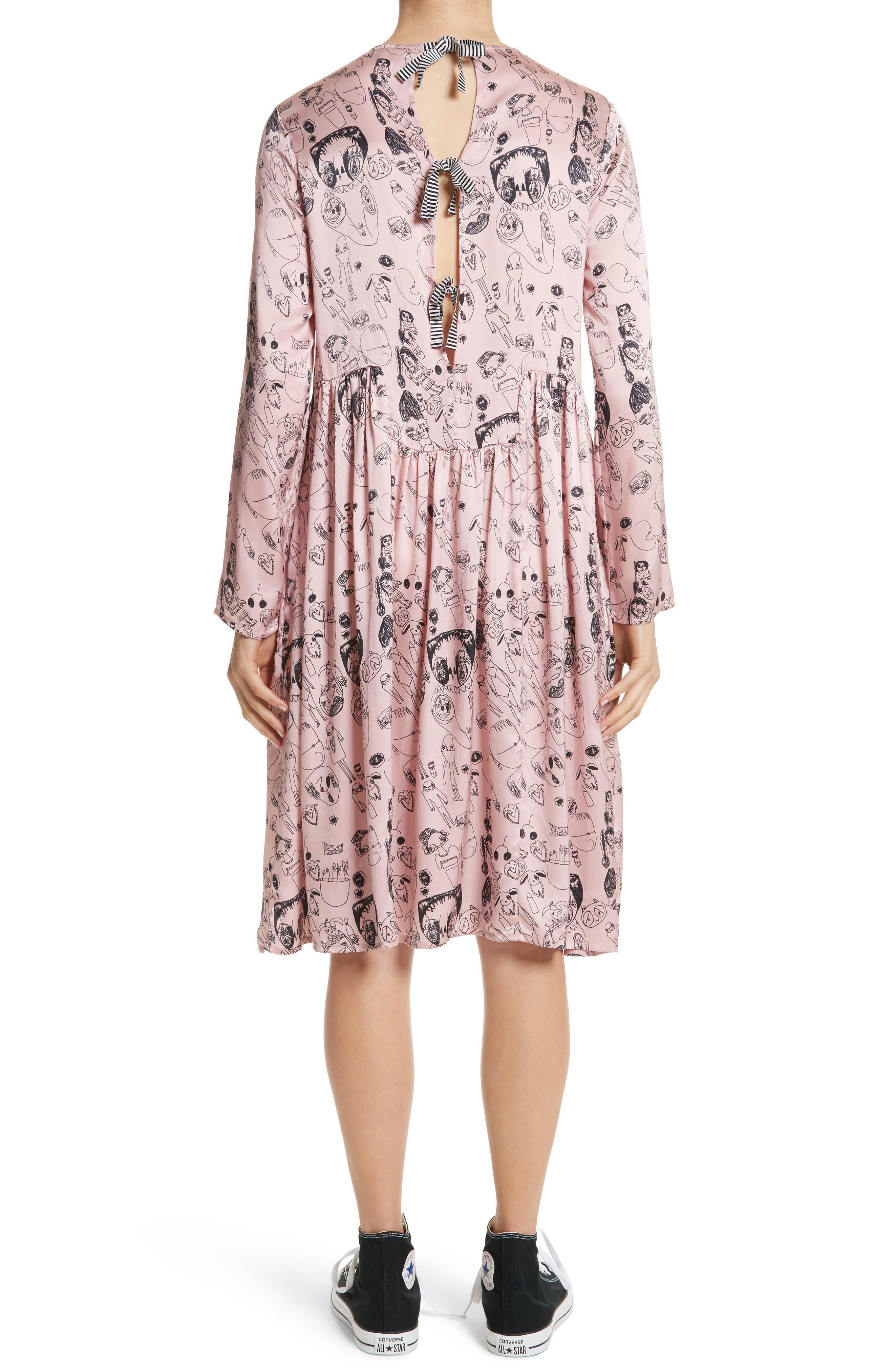 Heather Print Silk Dress,                             Alternate thumbnail 2, color,                             Rosette / Black