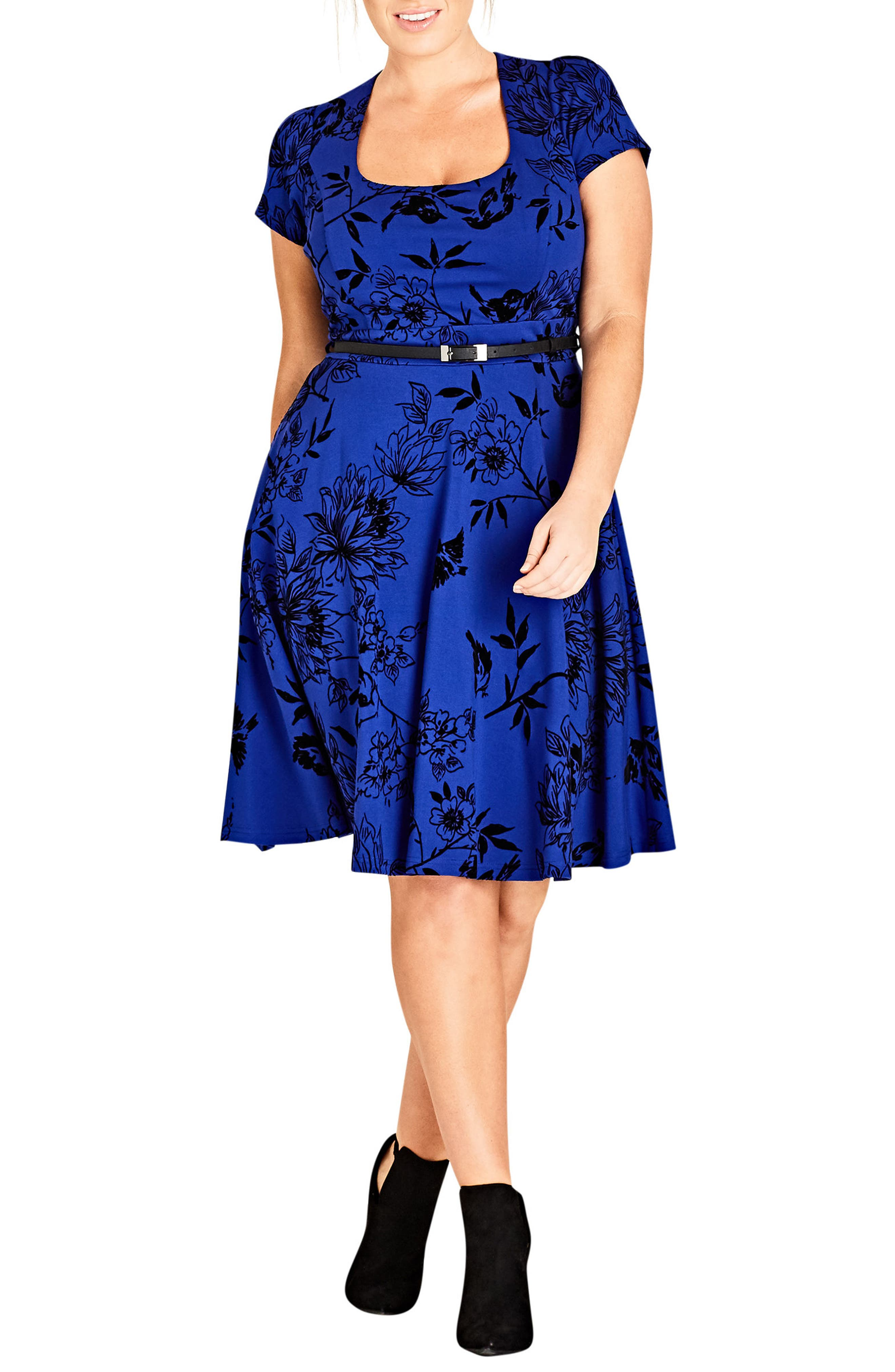 Birdy Flock Fit & Flare Dress,                             Main thumbnail 1, color,                             Pool
