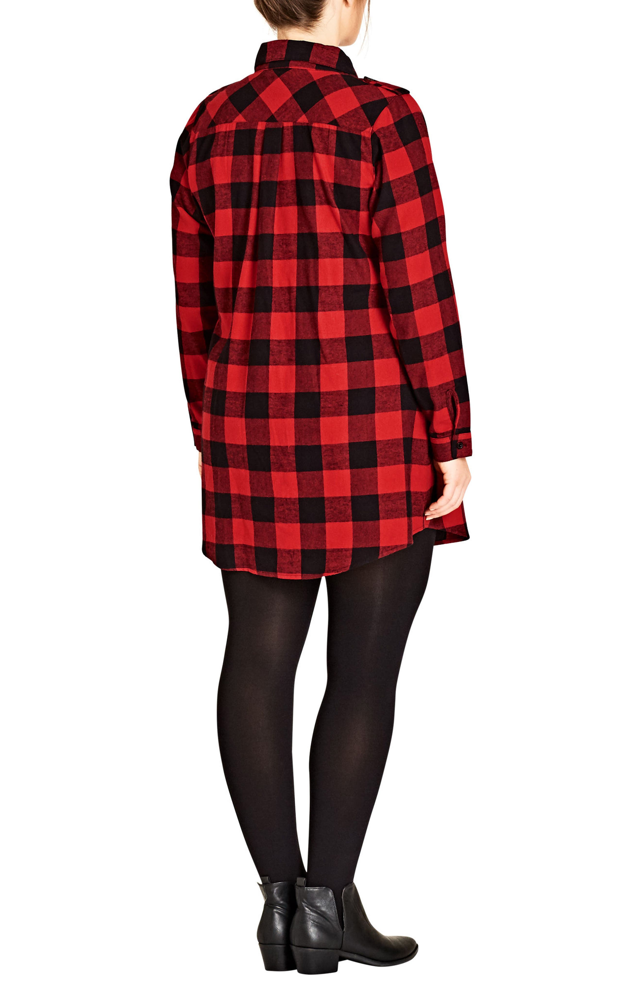 Alternate Image 2  - City Chic Check Lover Tunic (Plus Size)
