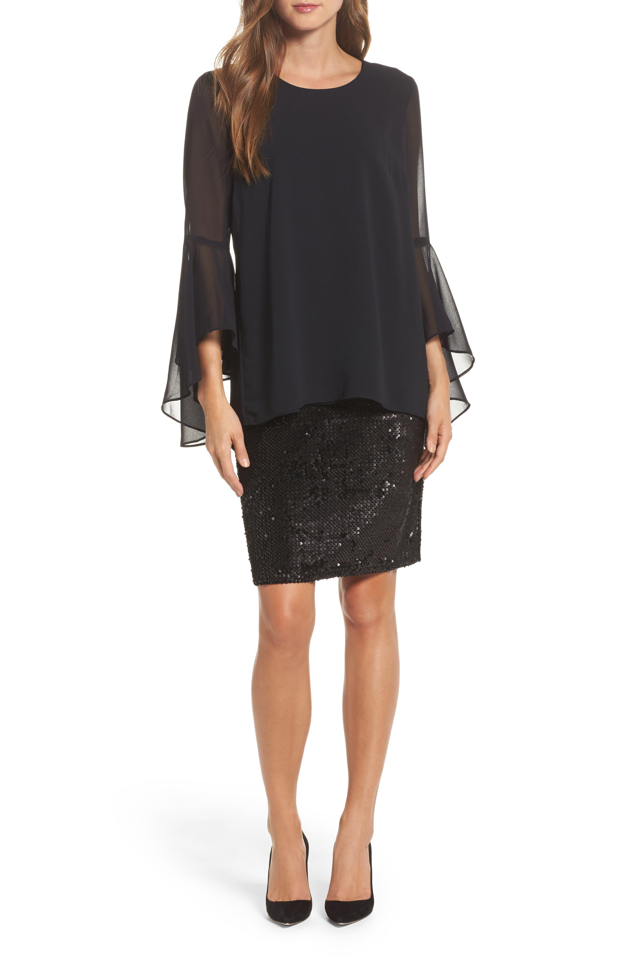 Sequin Chiffon Dress,                         Main,                         color, Black Onyx