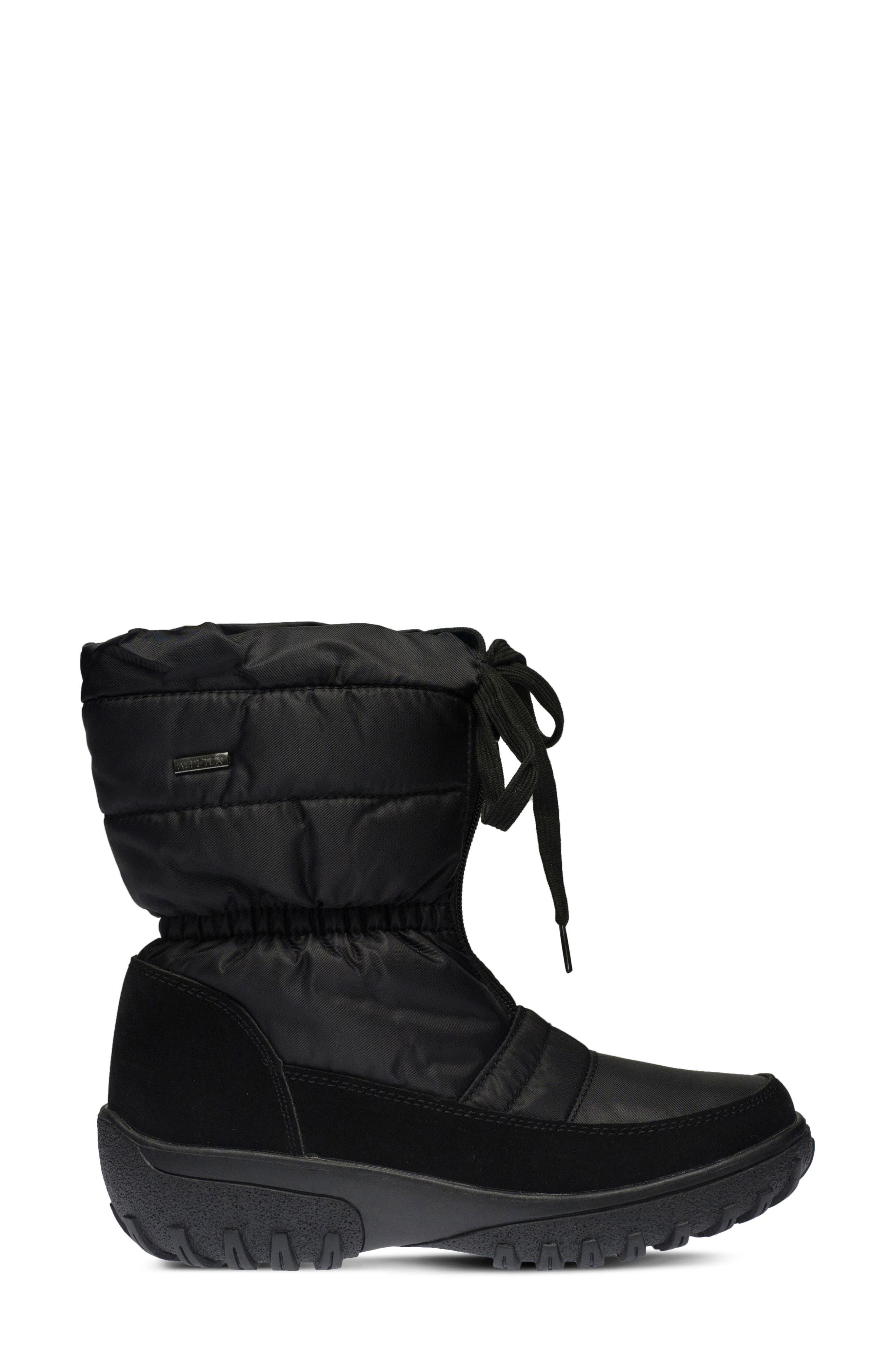 Lucerne Waterproof Drawstring Boot,                             Alternate thumbnail 3, color,                             Black
