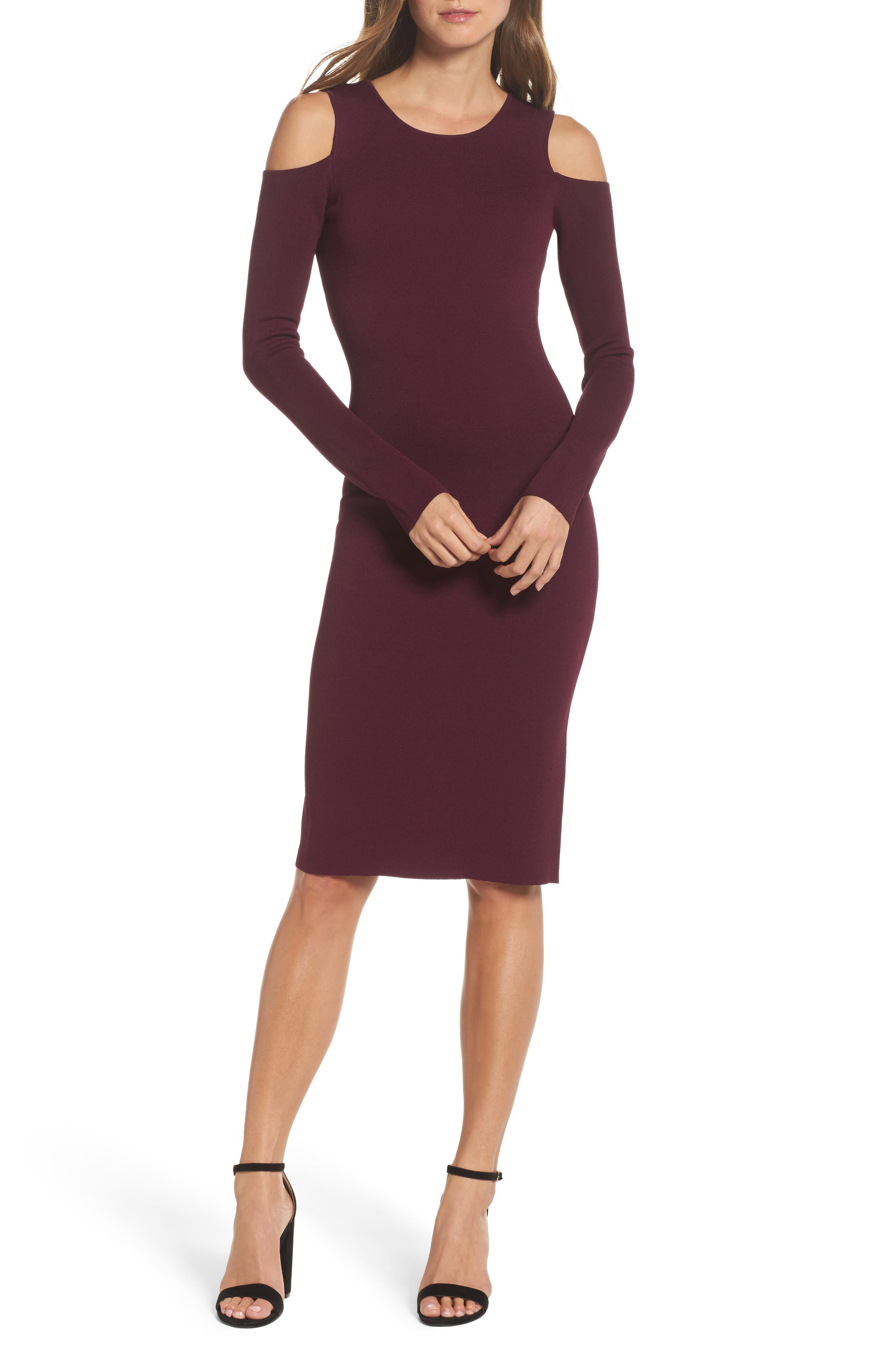 Cold Shoulder Knit Body-Con Dress,                         Main,                         color, Aubergine