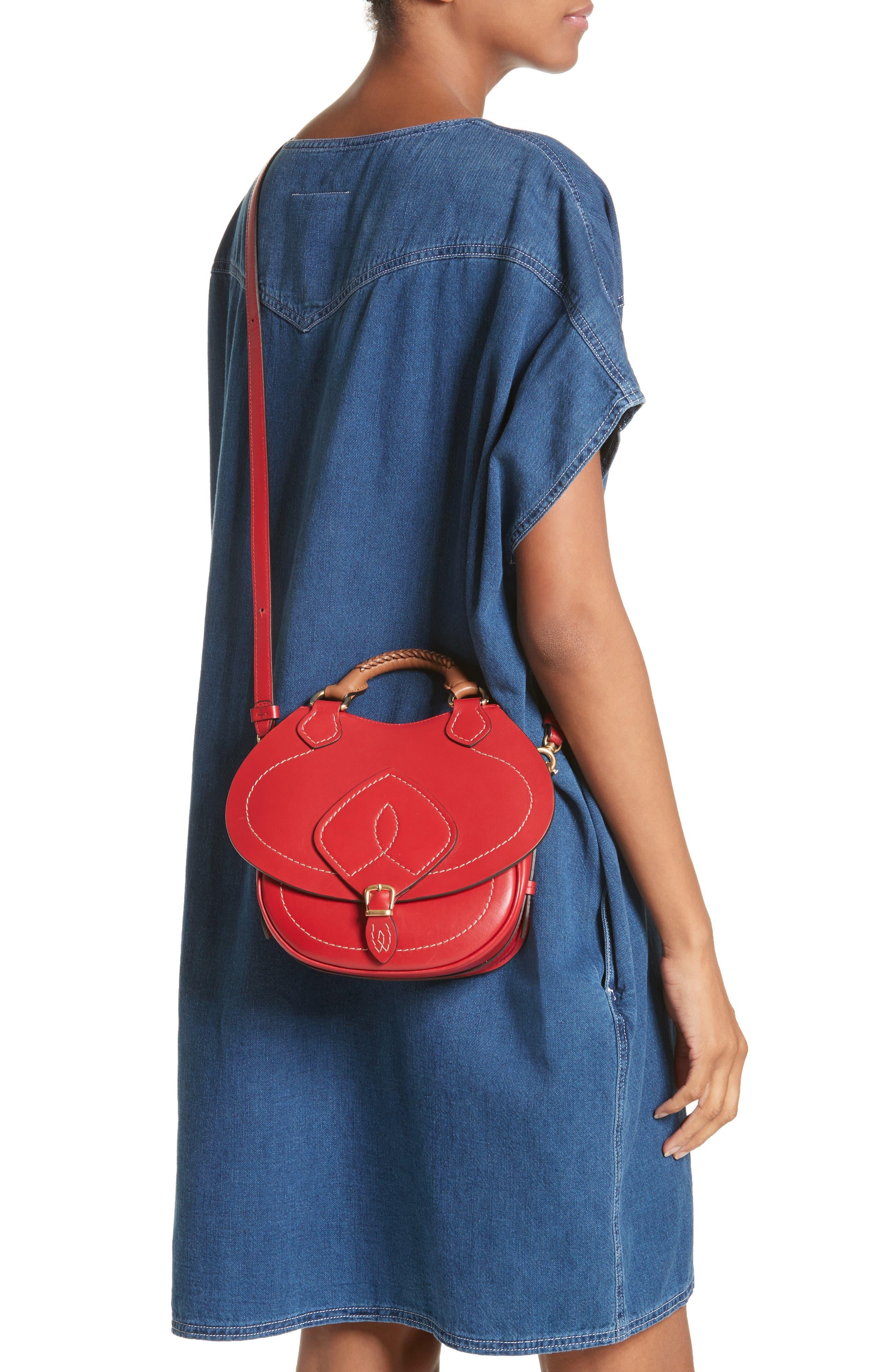 Small Bag-Slide Leather Shoulder Bag,                             Alternate thumbnail 2, color,                             Red