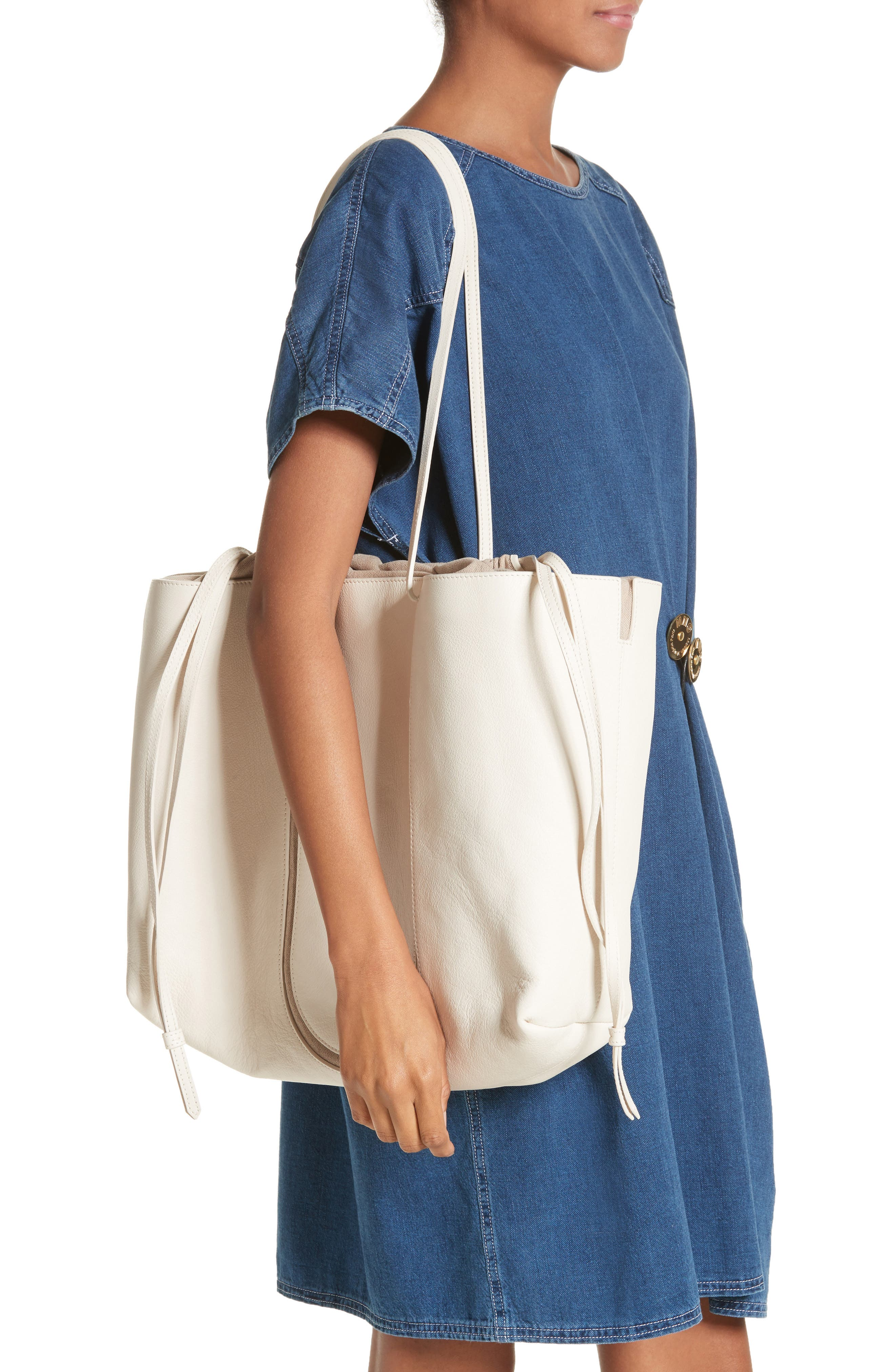 Calfskin Leather Tote,                             Alternate thumbnail 2, color,                             Cream