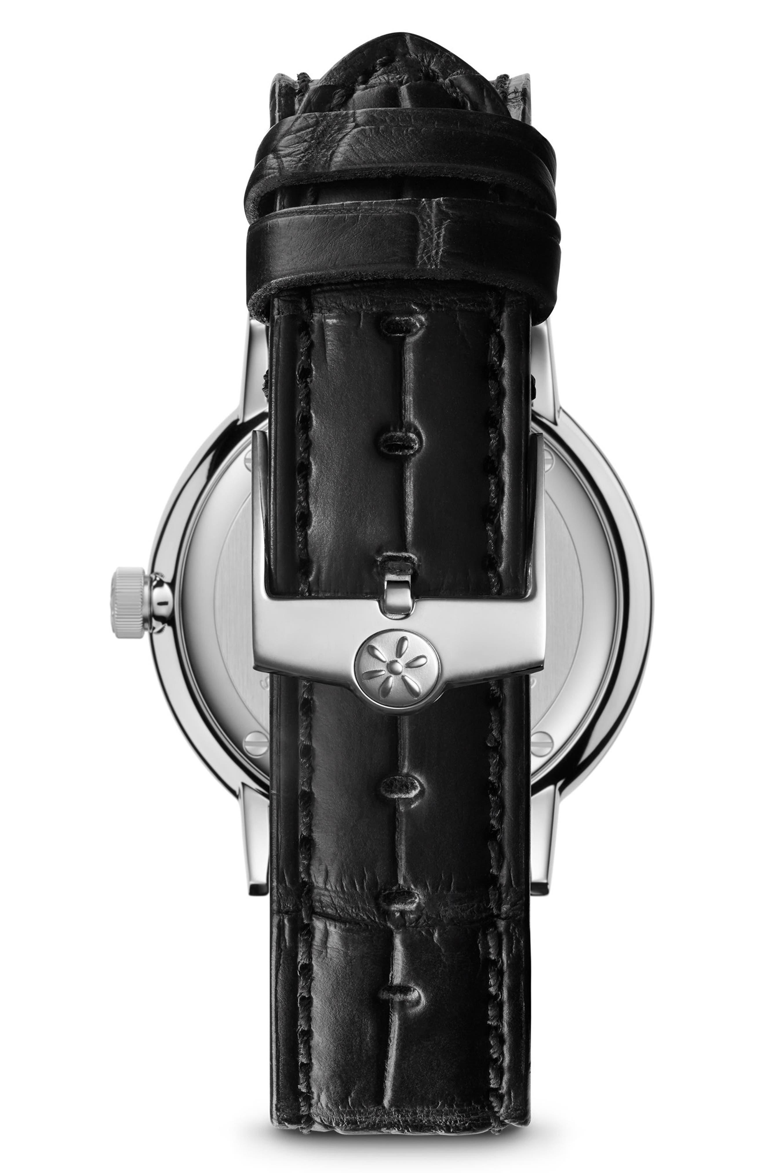 The Agnes Varies Diamond Alligator Strap Watch, 32mm,                             Alternate thumbnail 2, color,                             Black/ Mop/ Silver