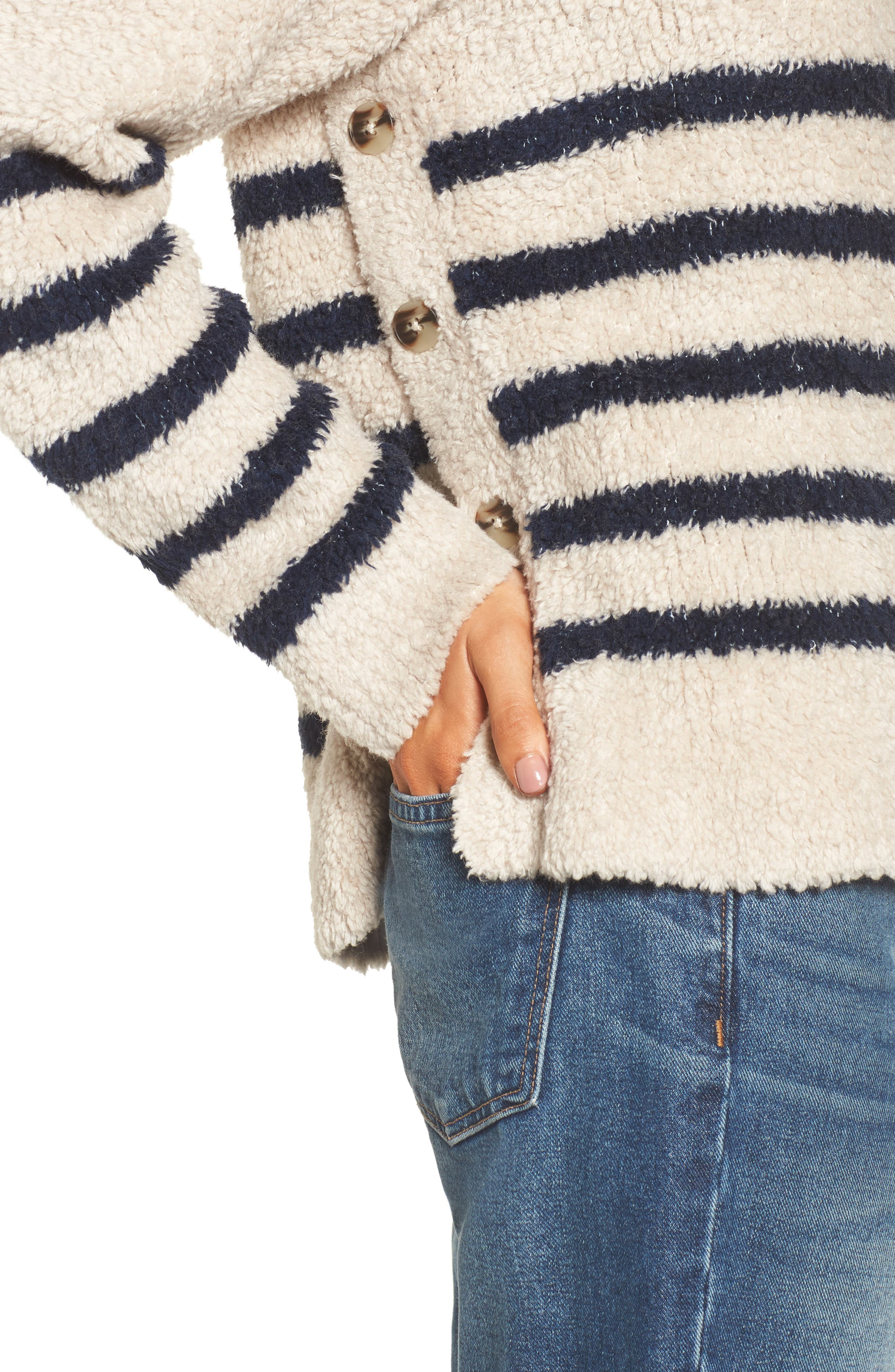 Mariner Stripe Turtleneck Sweater,                             Alternate thumbnail 4, color,                             Cloud Lining