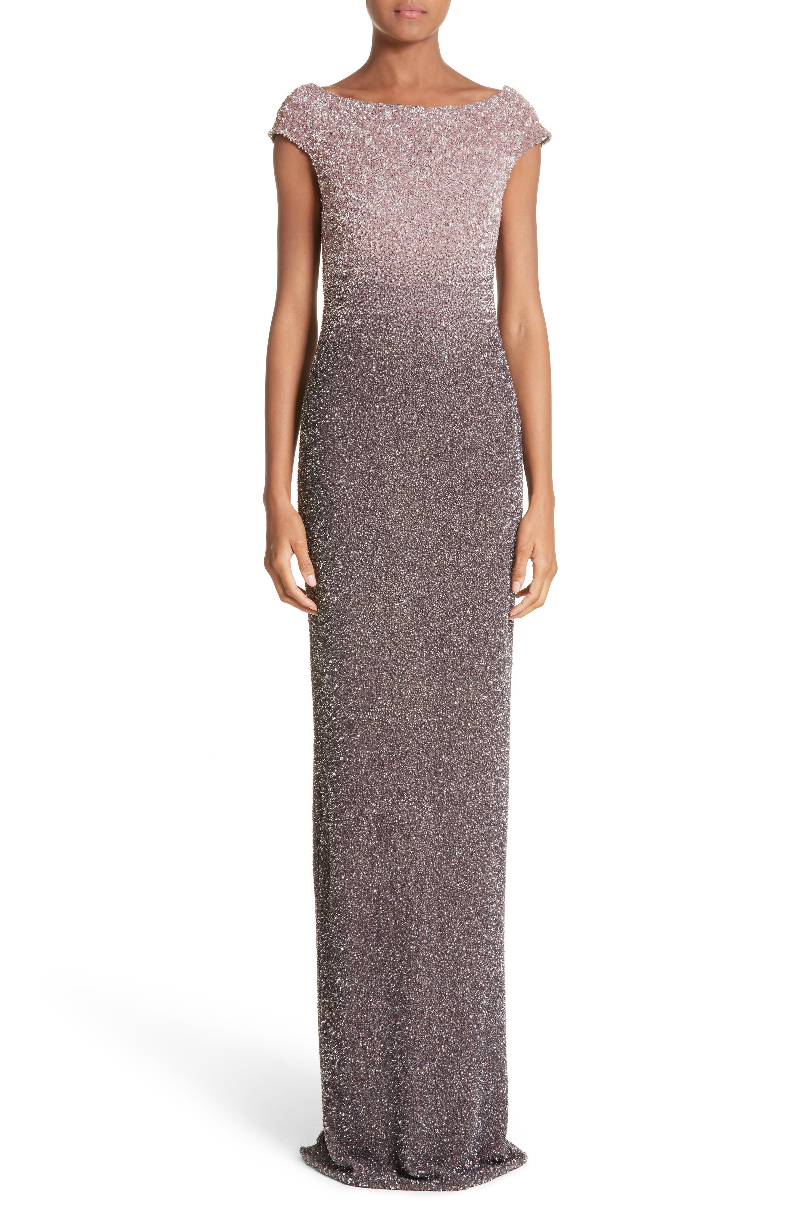 Cowl Back Sequin Column Gown,                             Main thumbnail 1, color,                             Blush/ Smoke
