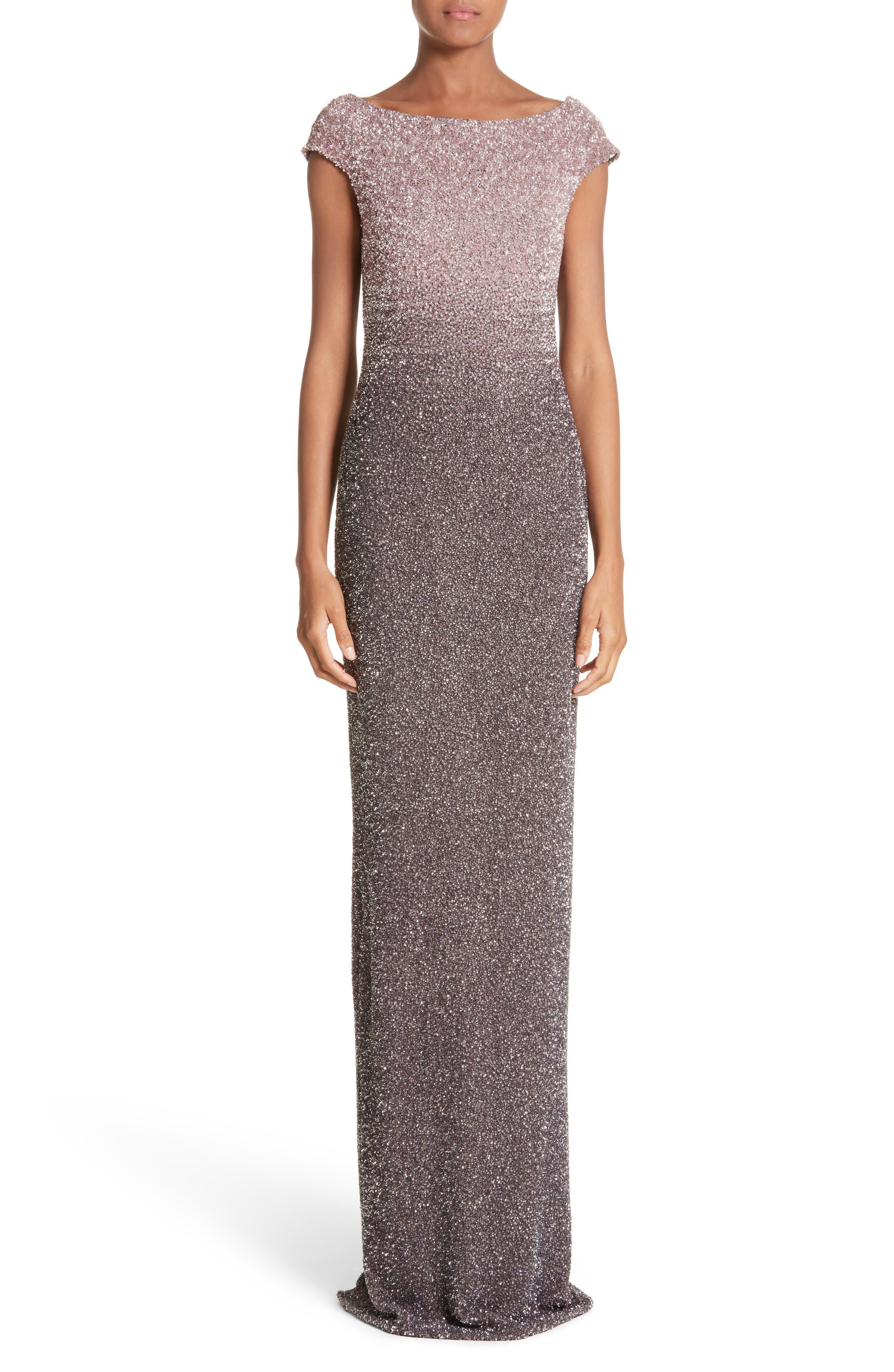 Pamella Roland Cowl Back Sequin Column Gown