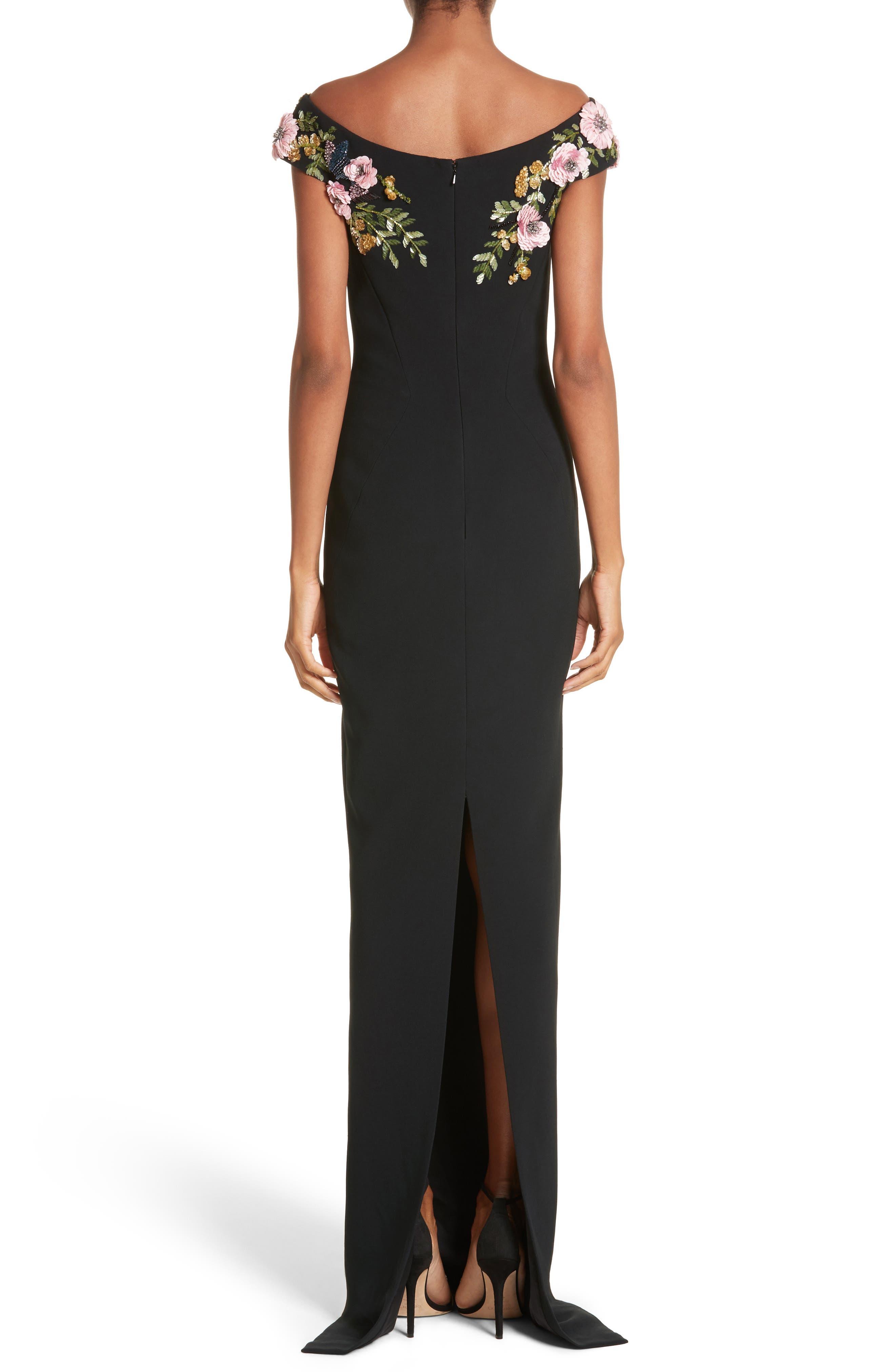 Embellished Stretch Crepe Off the Shoulder Gown,                             Alternate thumbnail 2, color,                             Black