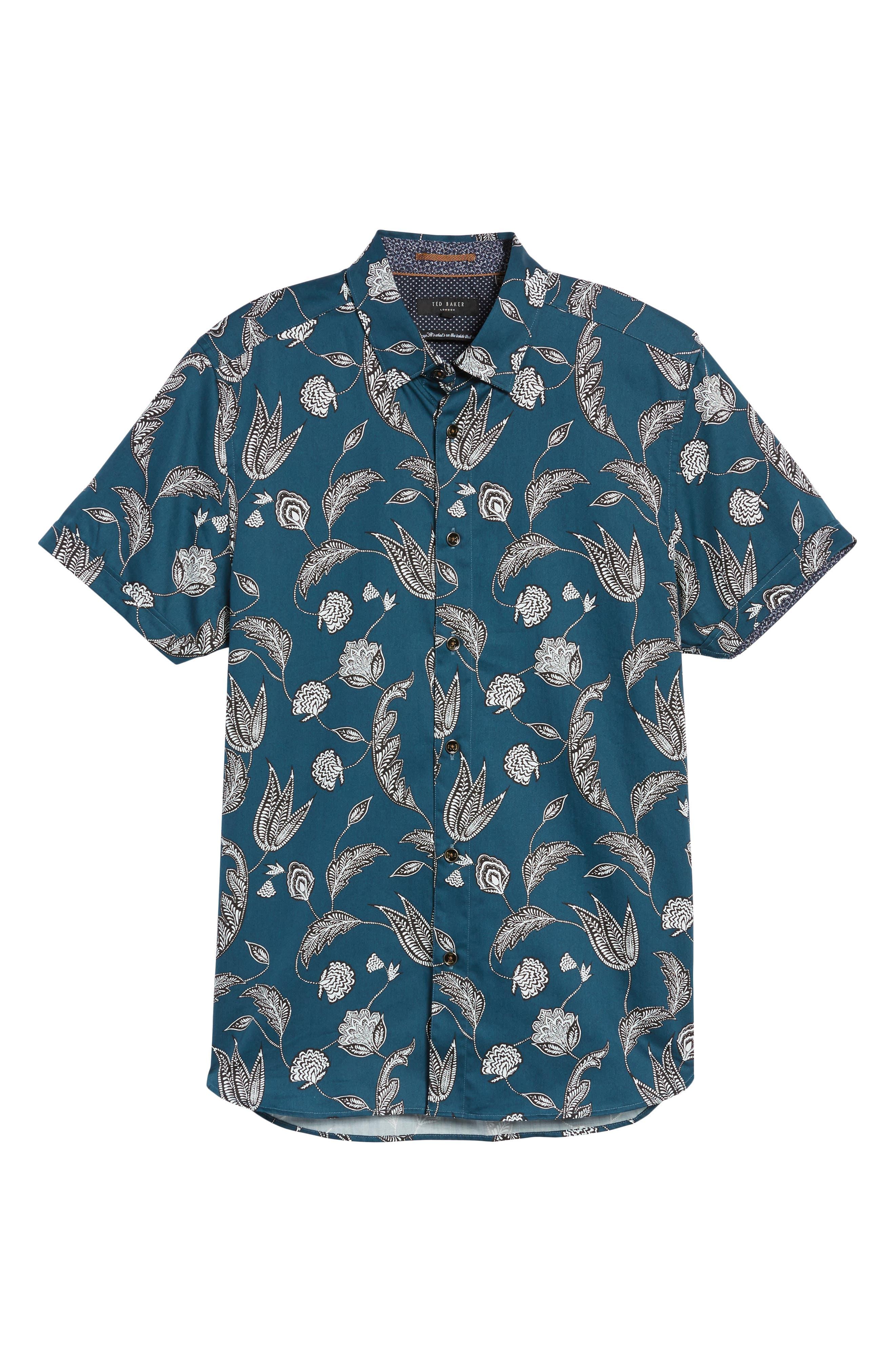 UTKU Floral Sport Shirt,                             Alternate thumbnail 6, color,                             Dark Green