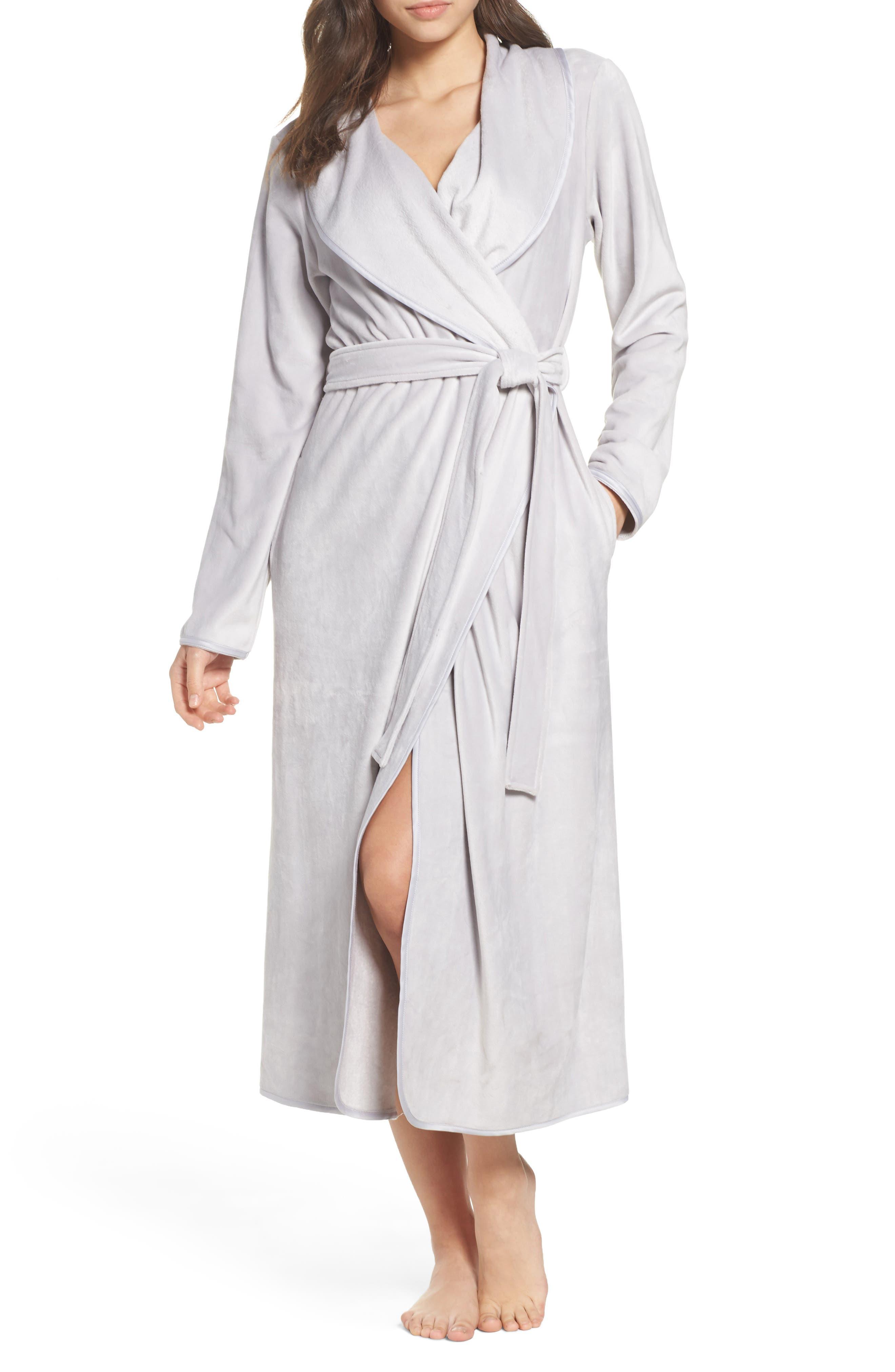 Luxe Shawl Robe,                         Main,                         color, Grey Micro
