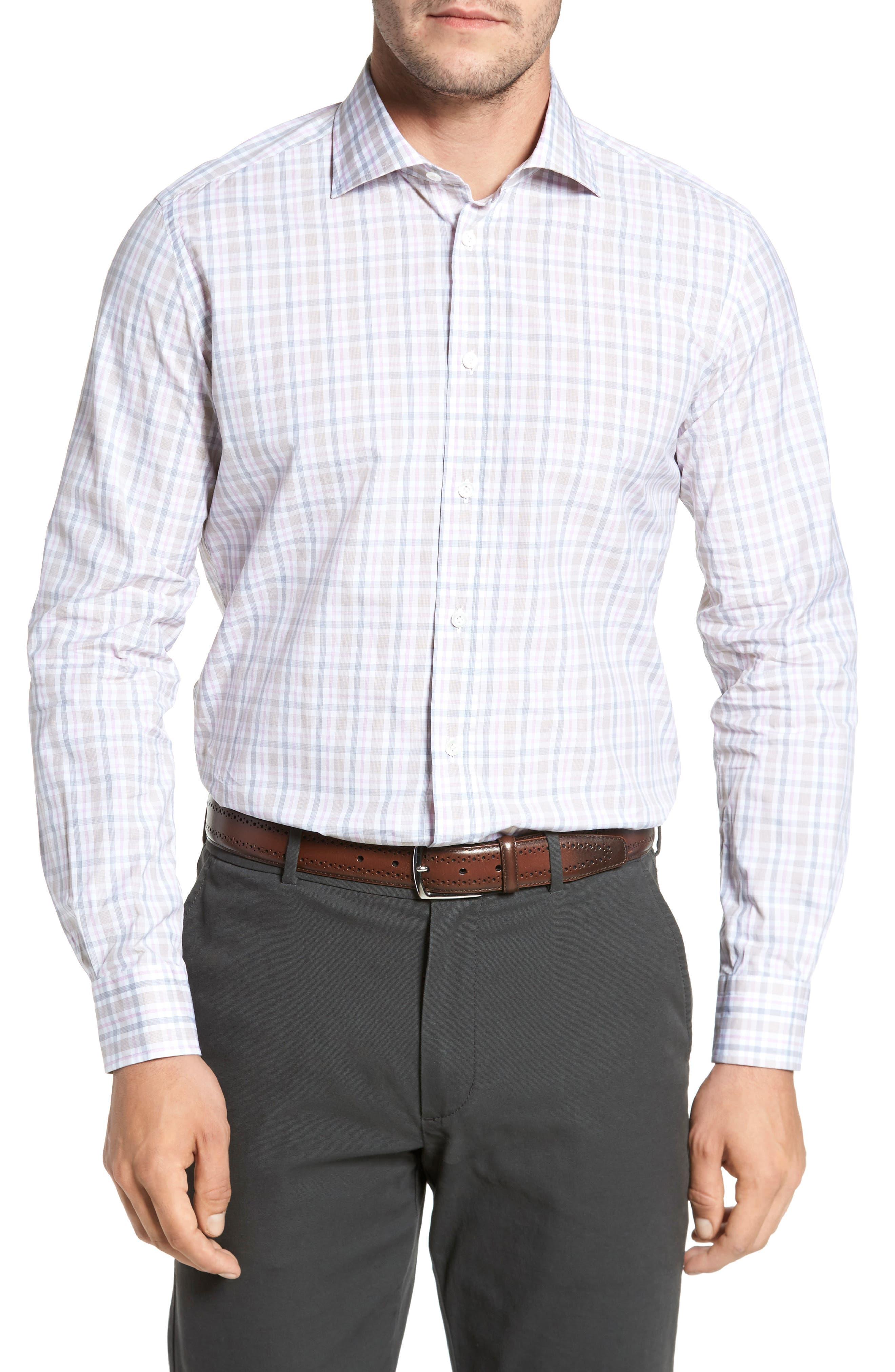 Classic Fit Check Sport Shirt,                         Main,                         color, Tan