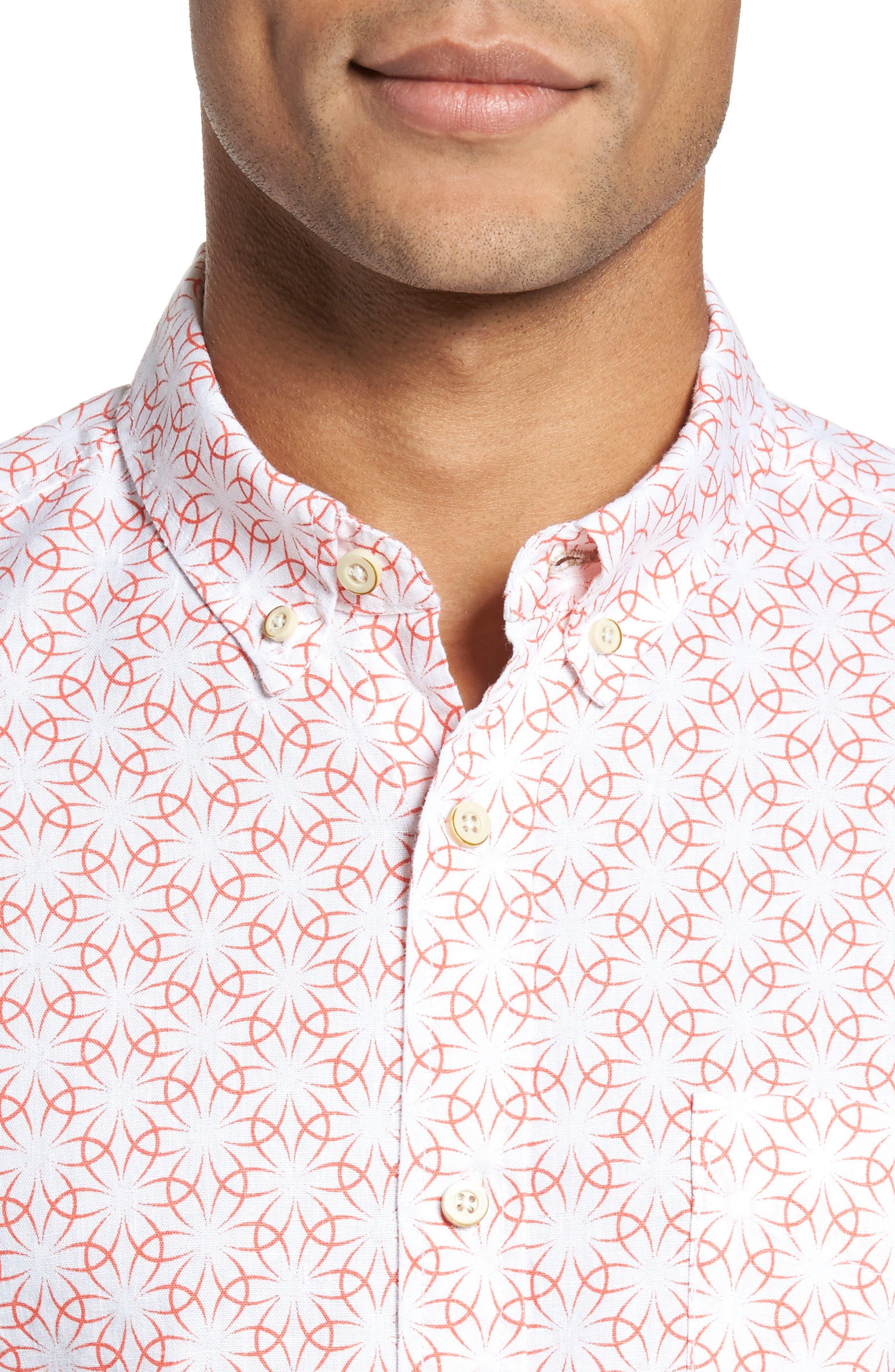 Gradient Flower Linen Sport Shirt,                             Alternate thumbnail 4, color,                             White/ Coral