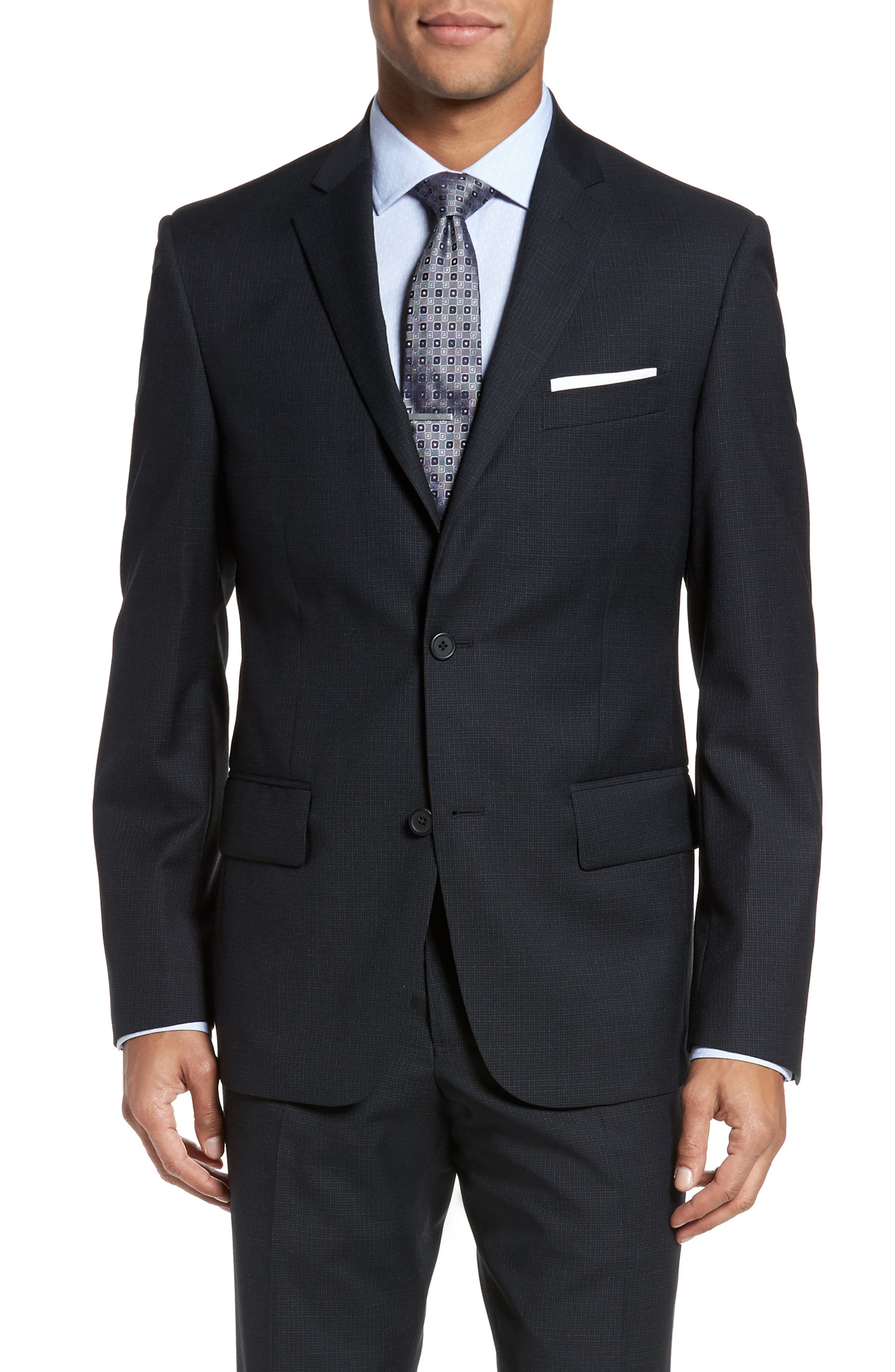 Classic Fit Check Wool Suit,                             Alternate thumbnail 5, color,                             Charcoal