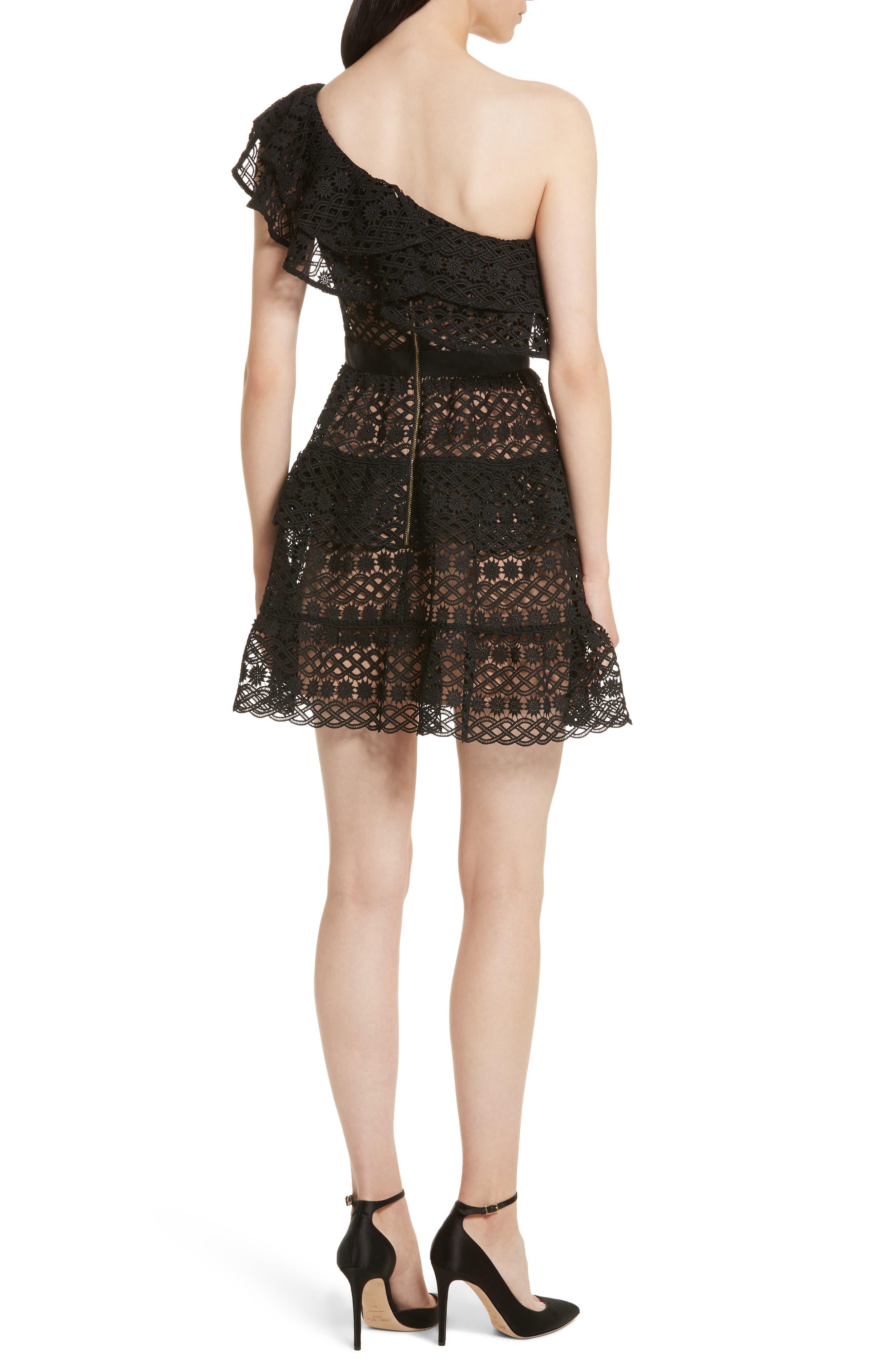 Floral Chain Lace One-Shoulder Dress,                             Alternate thumbnail 2, color,                             Black