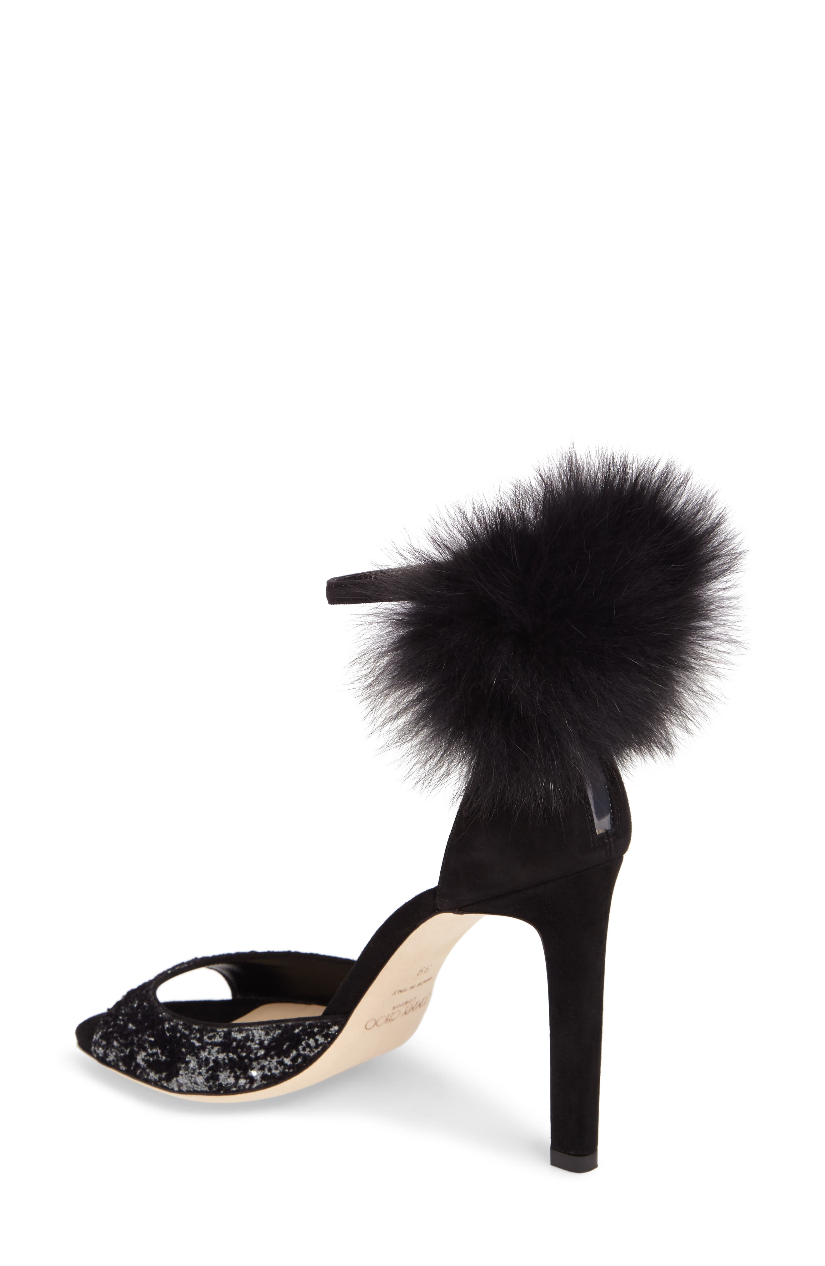 Suri Genuine Fox Fur Sandal,                             Alternate thumbnail 2, color,                             Anthracite/ Black/ Black
